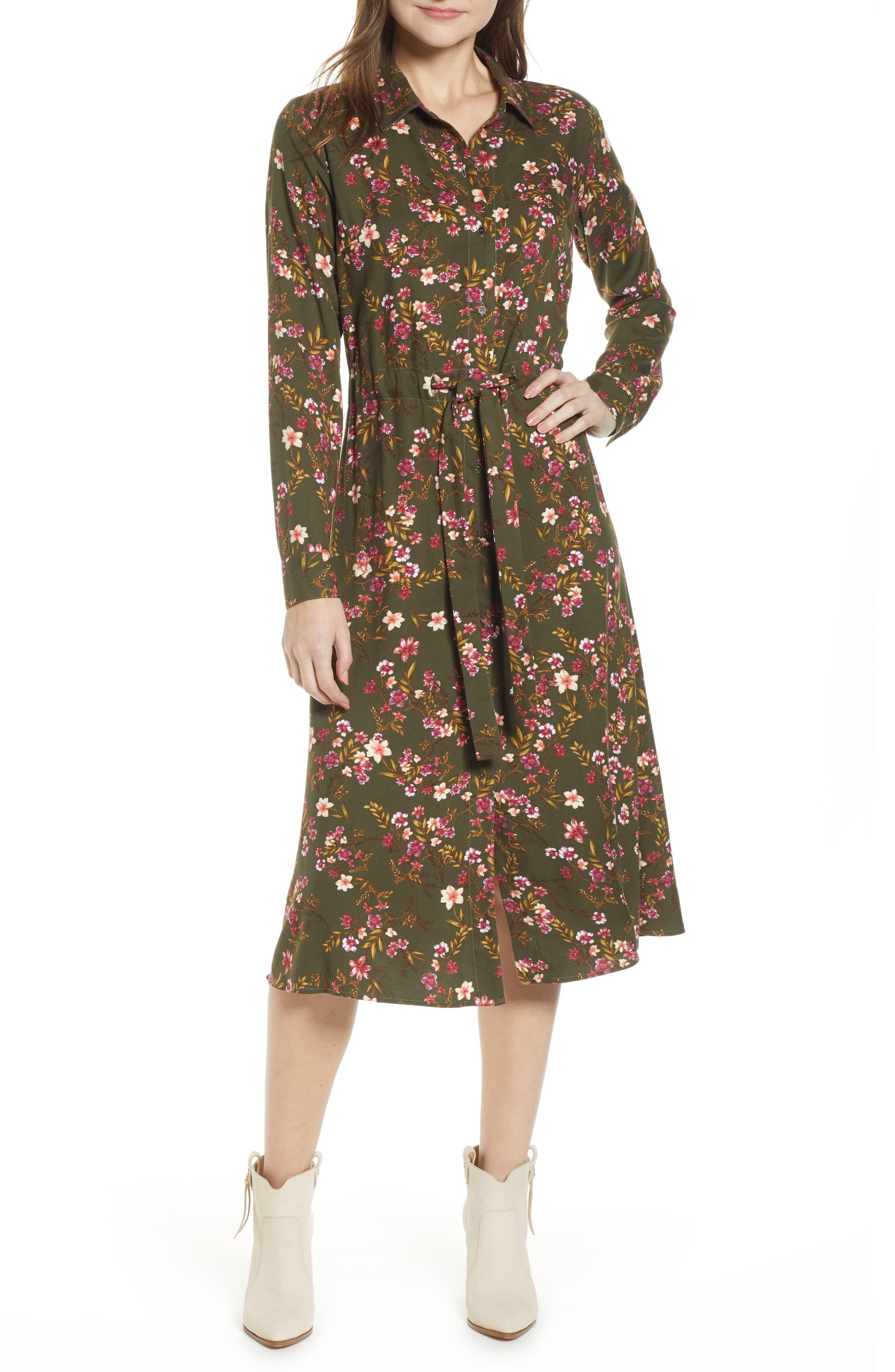 BP. Floral Midi Dress, Main, color, OLIVE BURNT SAVANNAH FLORAL