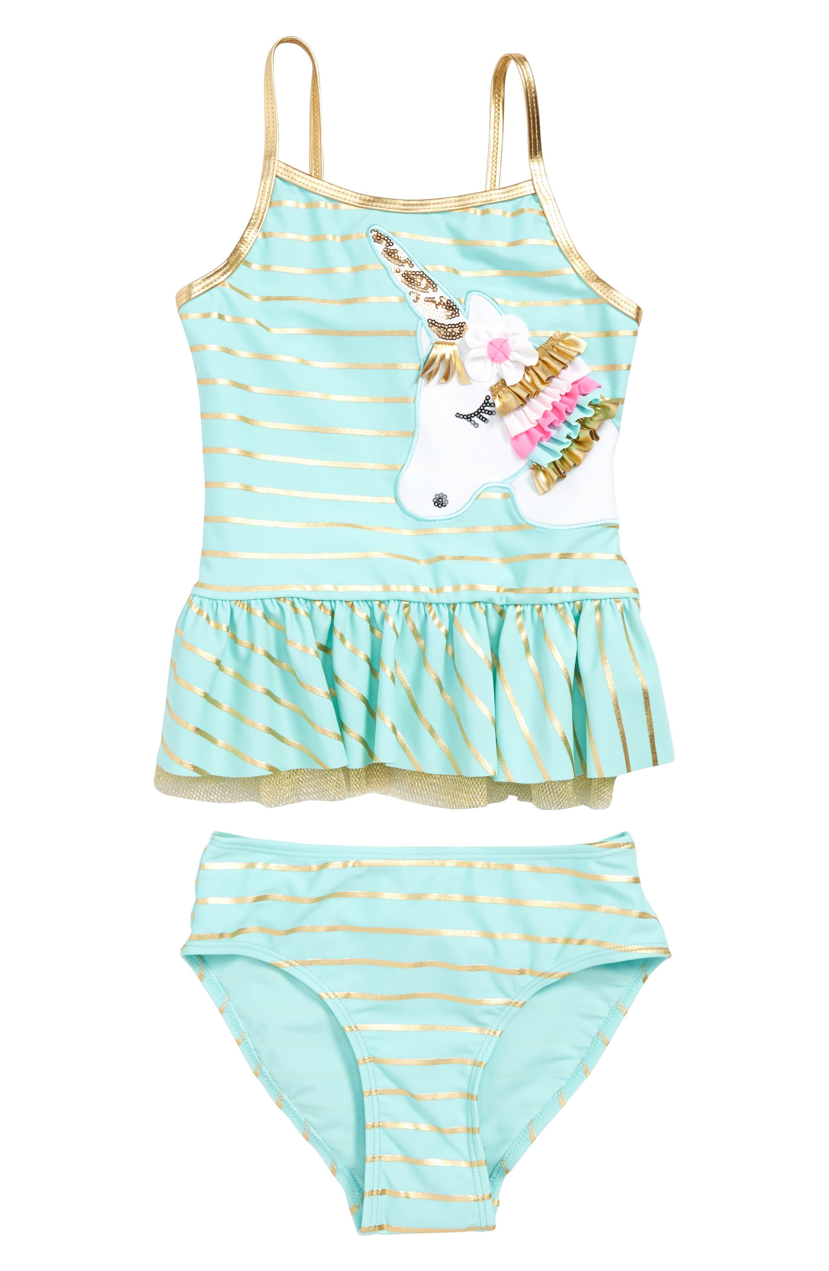 Toddler Girls Flapdoodles Unicorn Tankini TwoPiece Swimsuit Size 4T  Blue