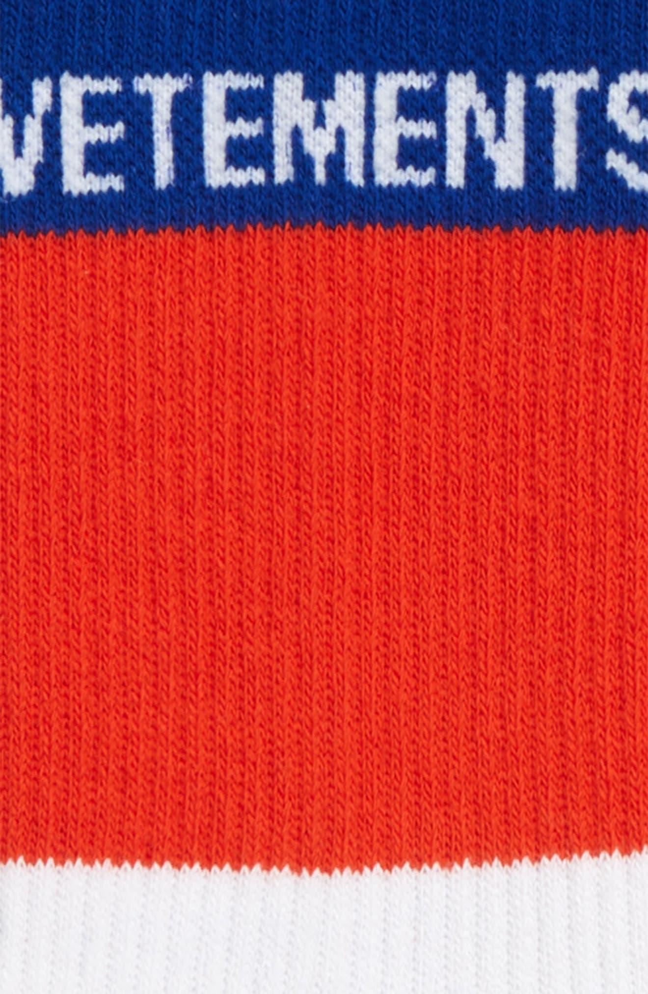 VETEMENTS, Stripe Socks, Alternate thumbnail 2, color, BLUE/ WHITE/ RED
