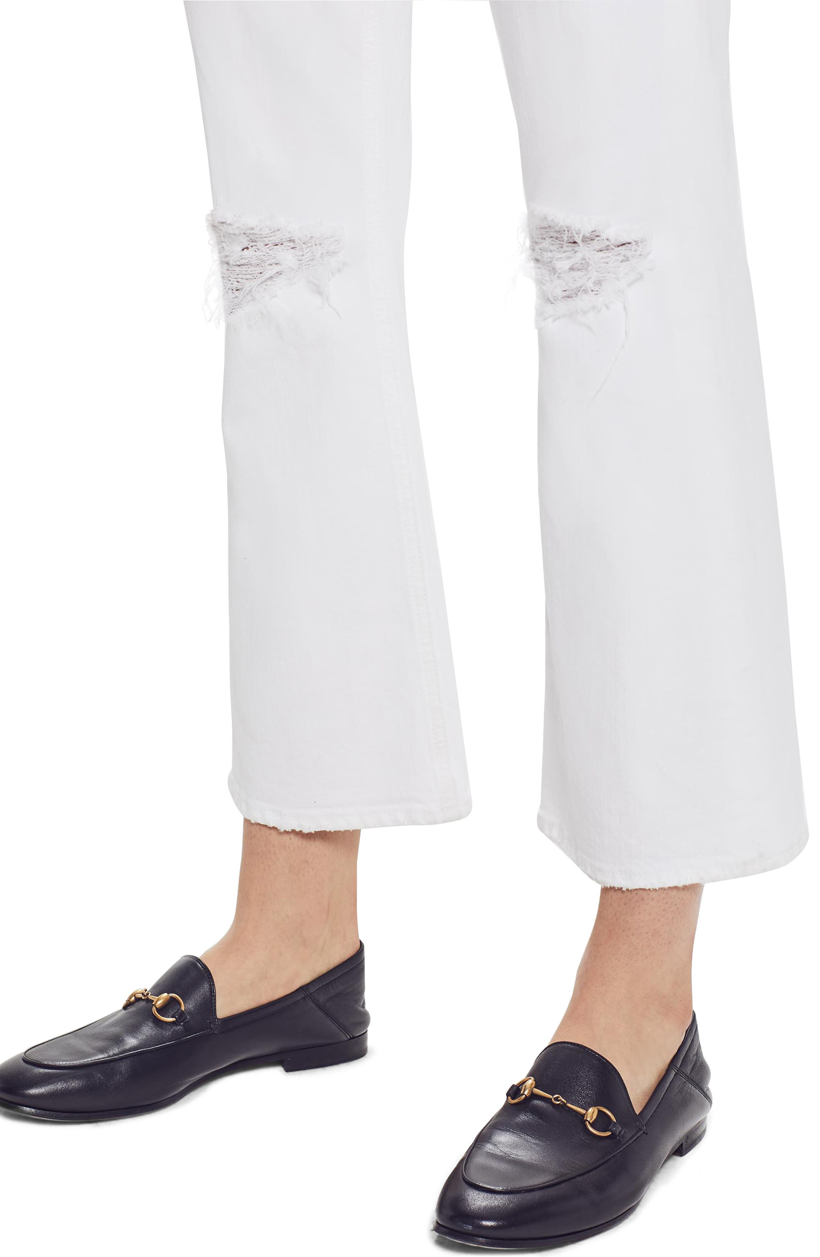 MOTHER, The Tripper High Waist Crop Bootcut Jeans, Alternate thumbnail 4, color, ALMOST INNOCENT