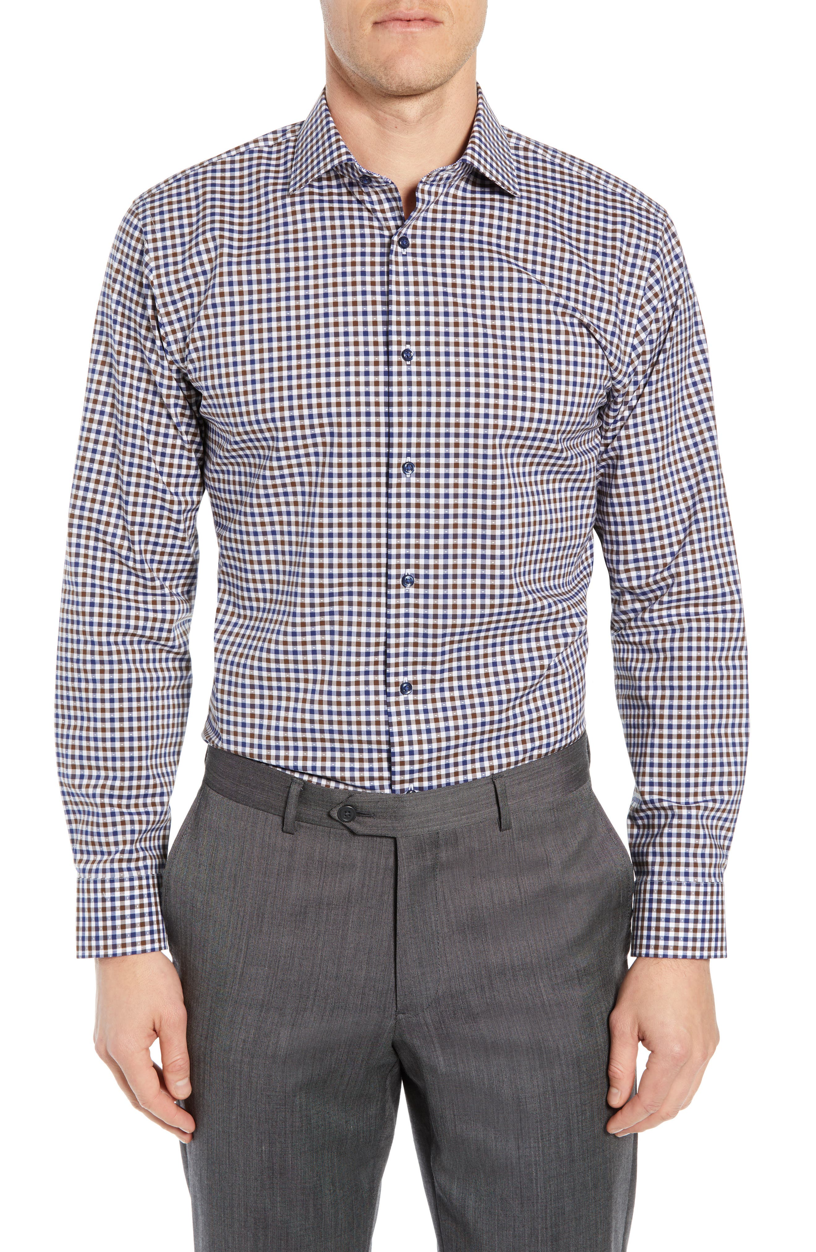 NORDSTROM MEN'S SHOP, Trim Fit Non-Iron Check Dress Shirt, Main thumbnail 1, color, BROWN FAWN