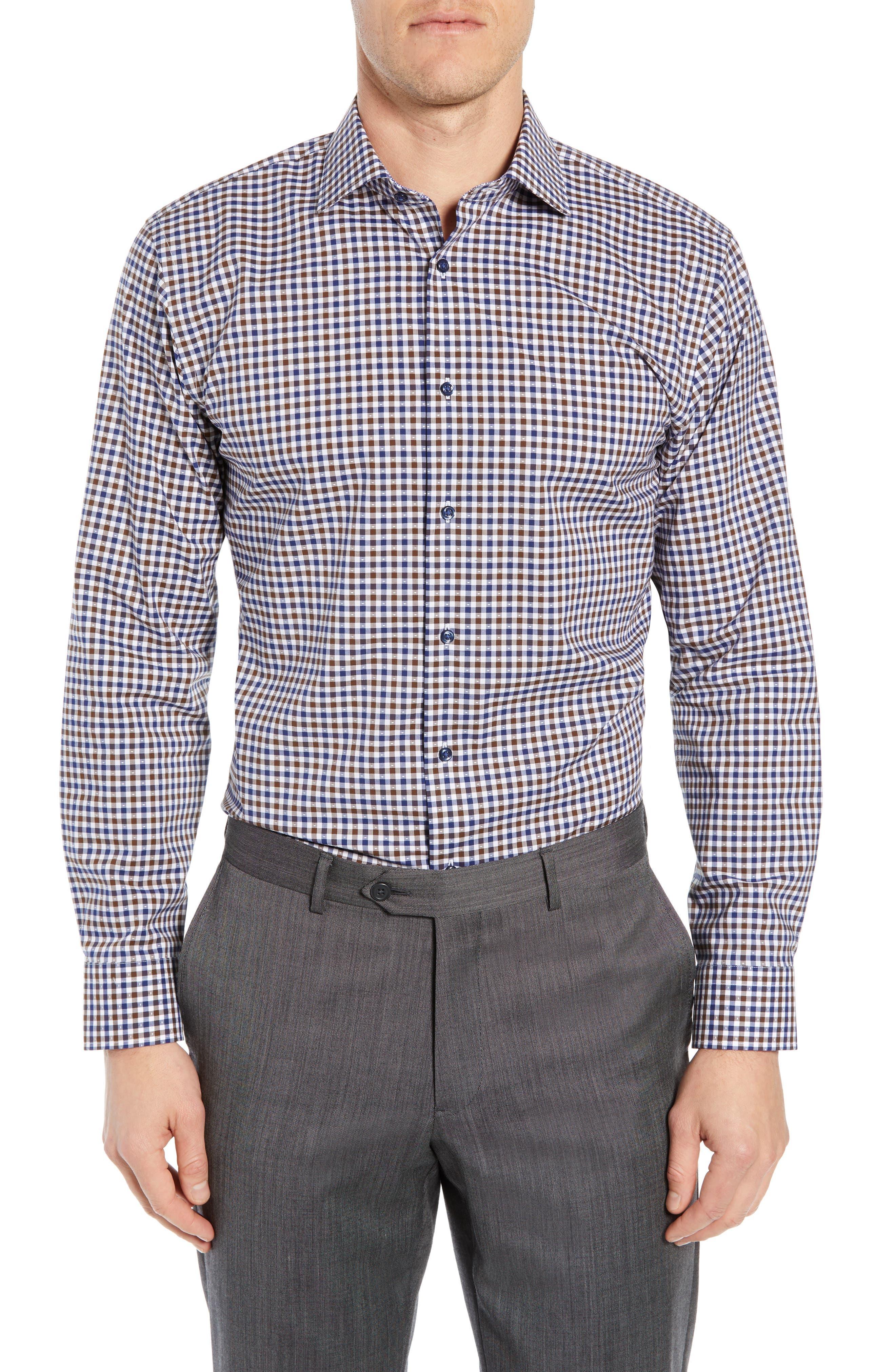 NORDSTROM MEN'S SHOP Trim Fit Non-Iron Check Dress Shirt, Main, color, BROWN FAWN