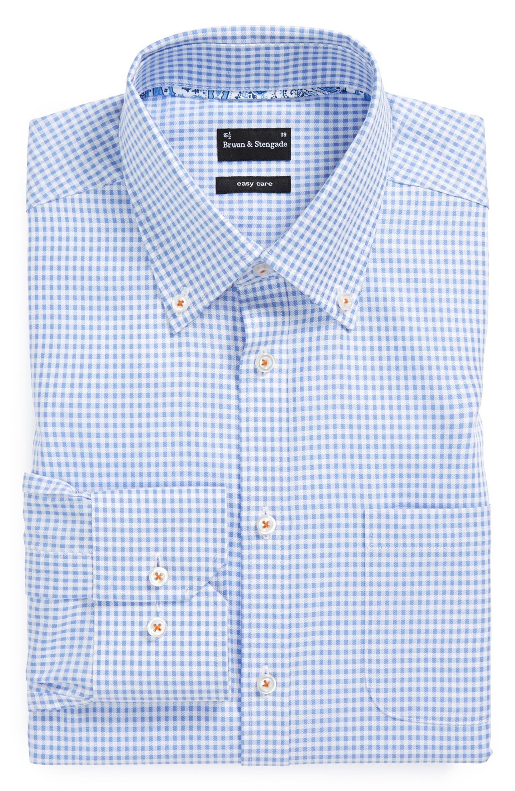 3de747399ce Bruun & Stengade Trim Fit Easy Care Check Dress Shirt | Nordstrom