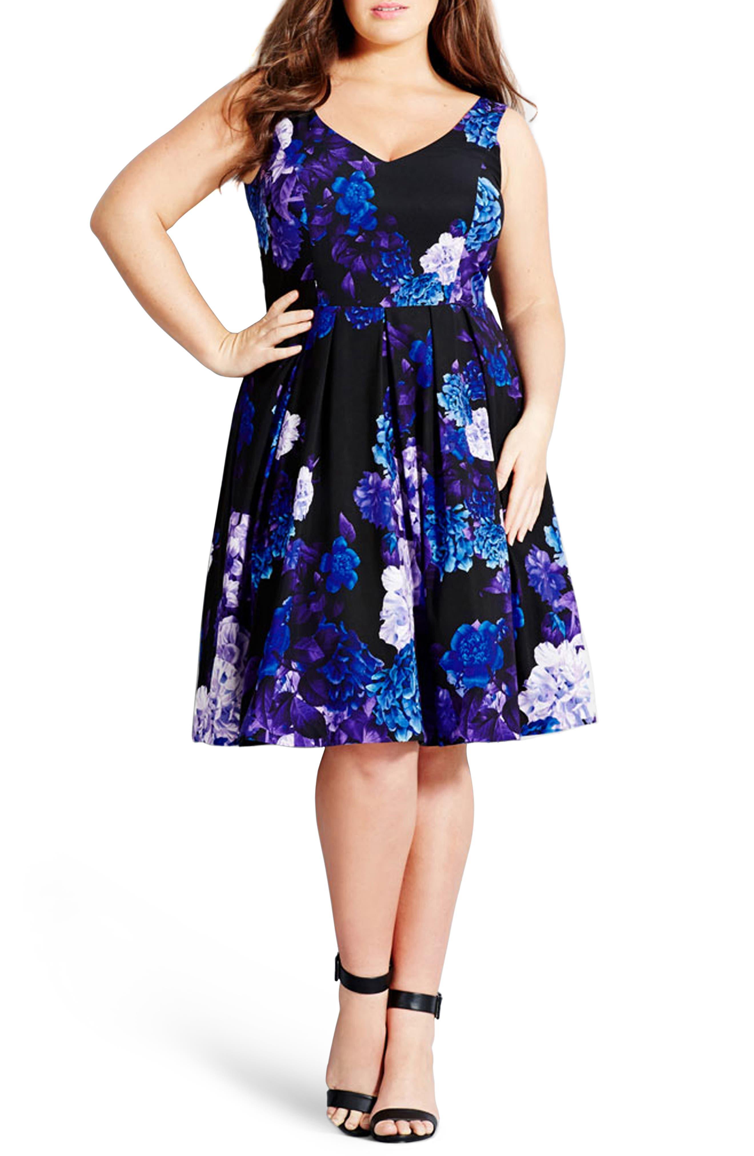 CITY CHIC Hydrangea Print Dress, Main, color, BLACK