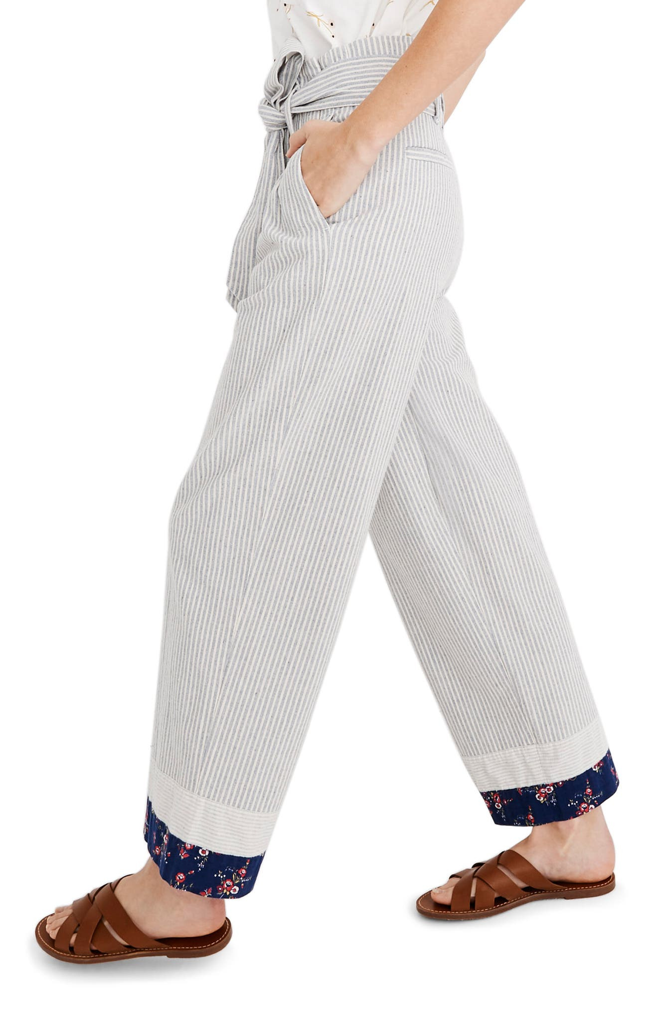 MADEWELL, x The New Denim Project<sup>®</sup> Patchwork Paperbag Pants, Alternate thumbnail 4, color, BLUE RAILROAD STRIPE