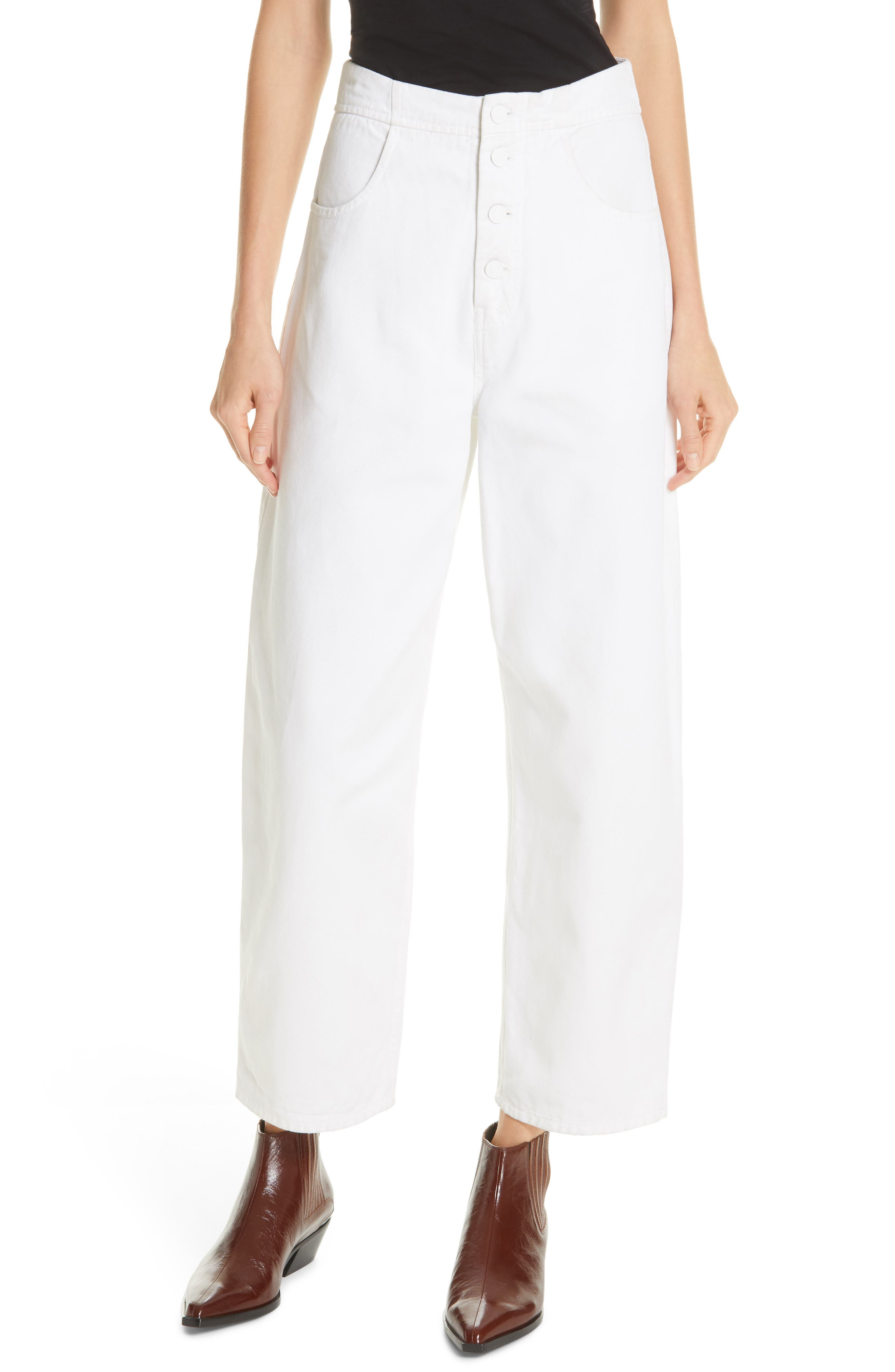 NILI LOTAN, Toledo Crop Cotton Pants, Main thumbnail 1, color, VINTAGE WHITE