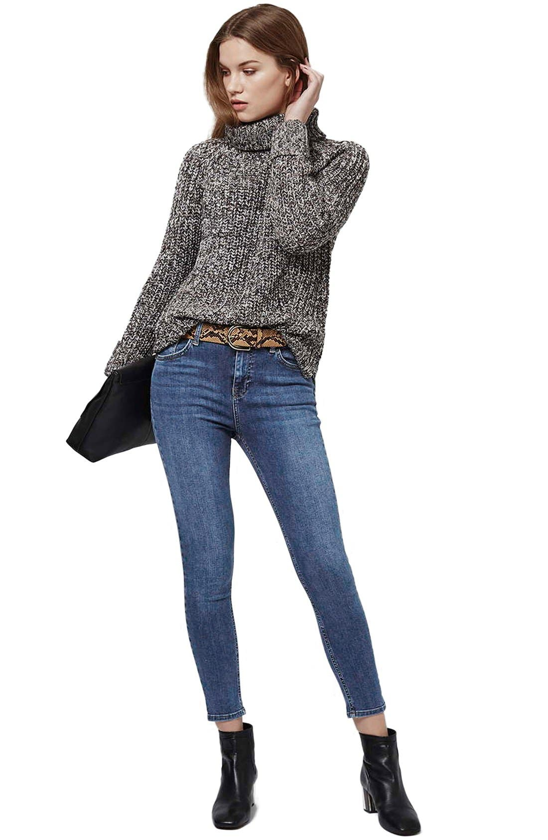 TOPSHOP, 'Jamie' High Rise Ankle Skinny Jeans, Alternate thumbnail 7, color, MID DENIM