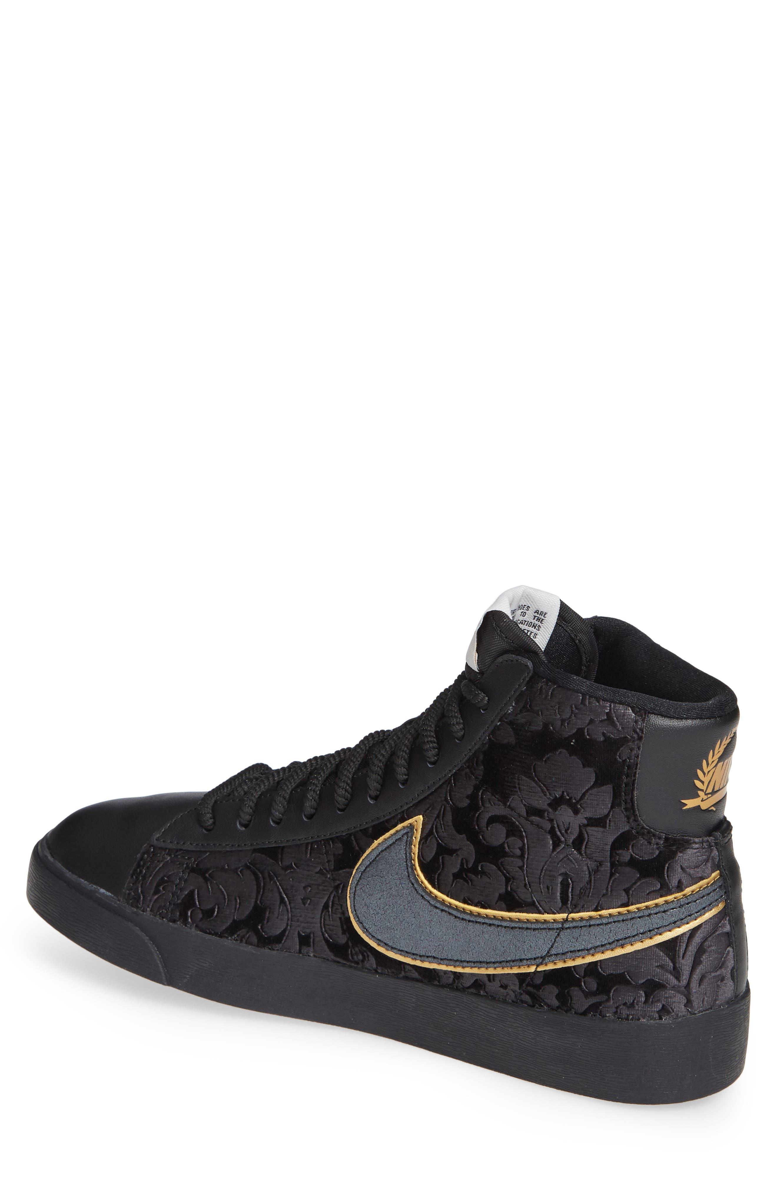 NIKE, Blazer Mid Top Sneaker, Alternate thumbnail 2, color, BLACK/ GOLD/ SUMMIT WHITE