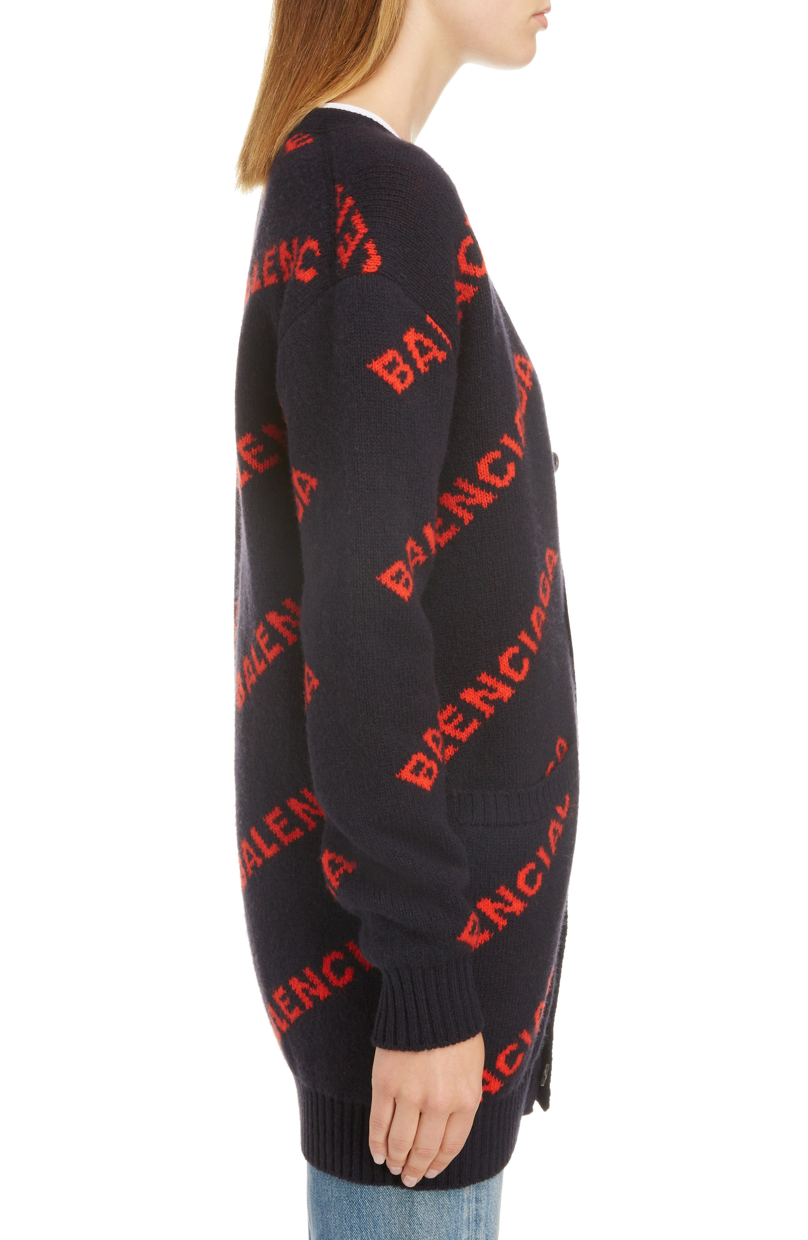 BALENCIAGA, Logo Jacquard Wool Blend Cardigan, Alternate thumbnail 3, color, NAVY/ ORANGE