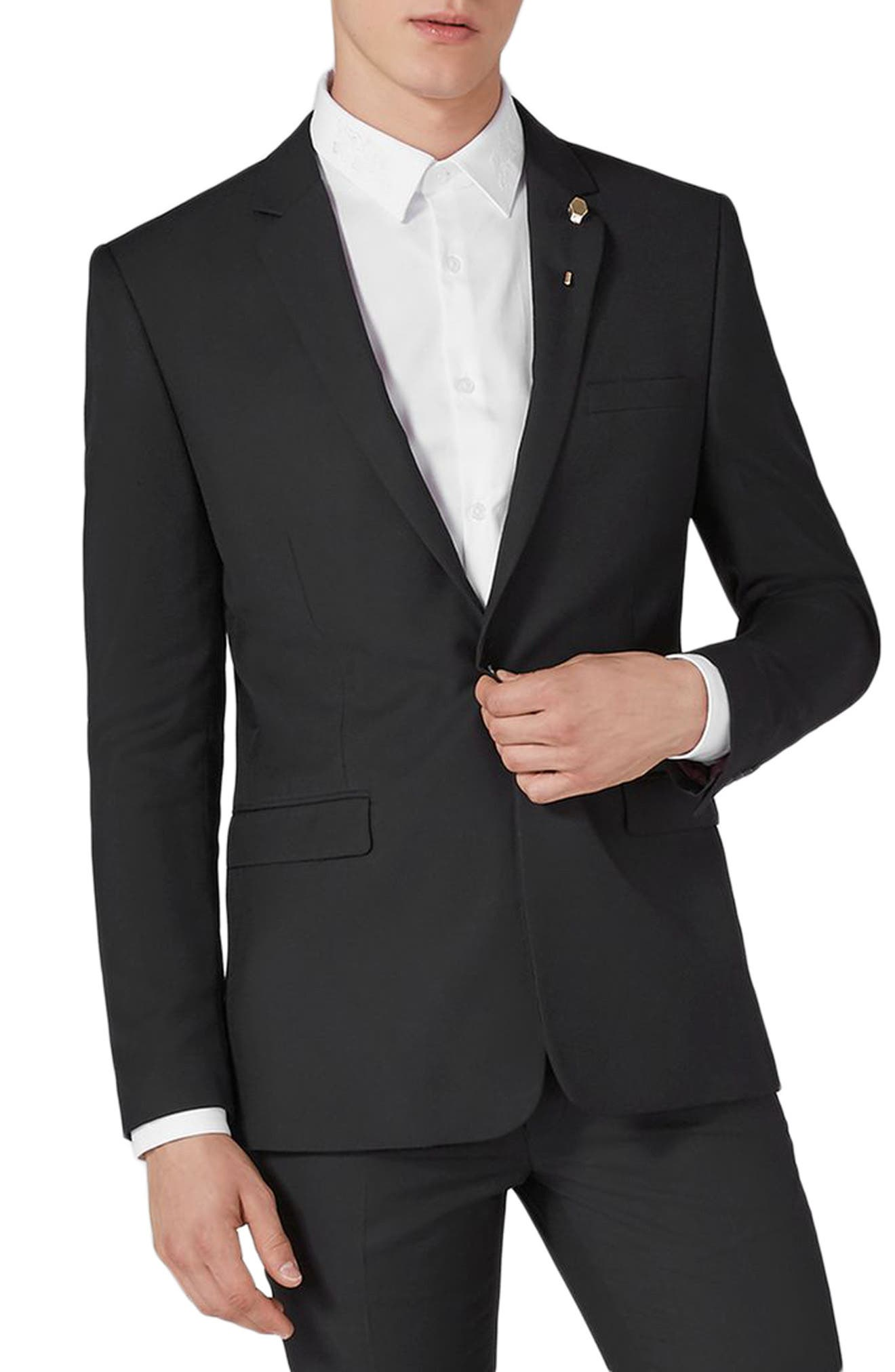TOPMAN, Skinny Fit One-Button Suit Jacket, Main thumbnail 1, color, BLACK