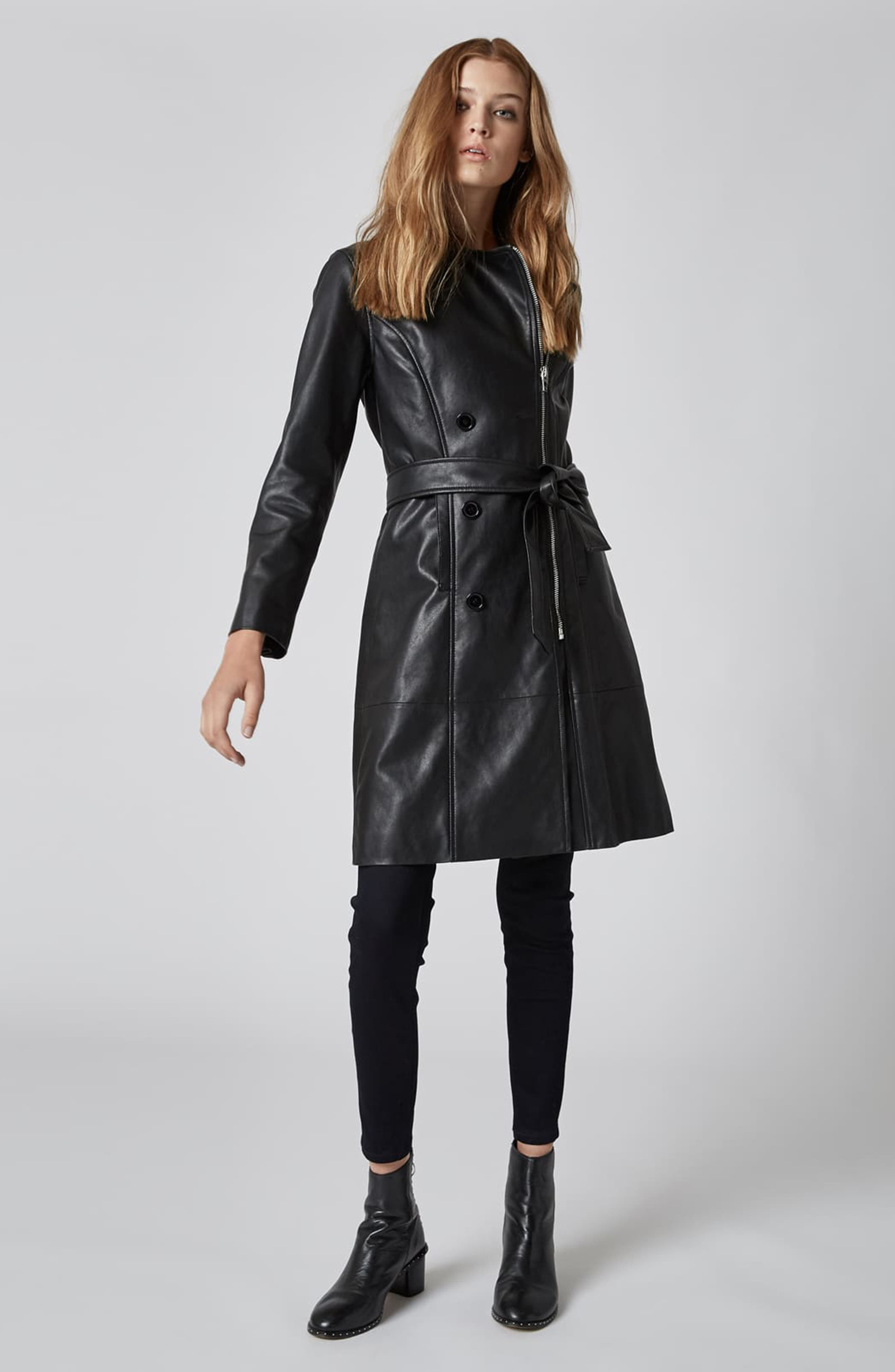 BLANKNYC, Faux Leather Trench Coat, Alternate thumbnail 5, color, PUNISHER
