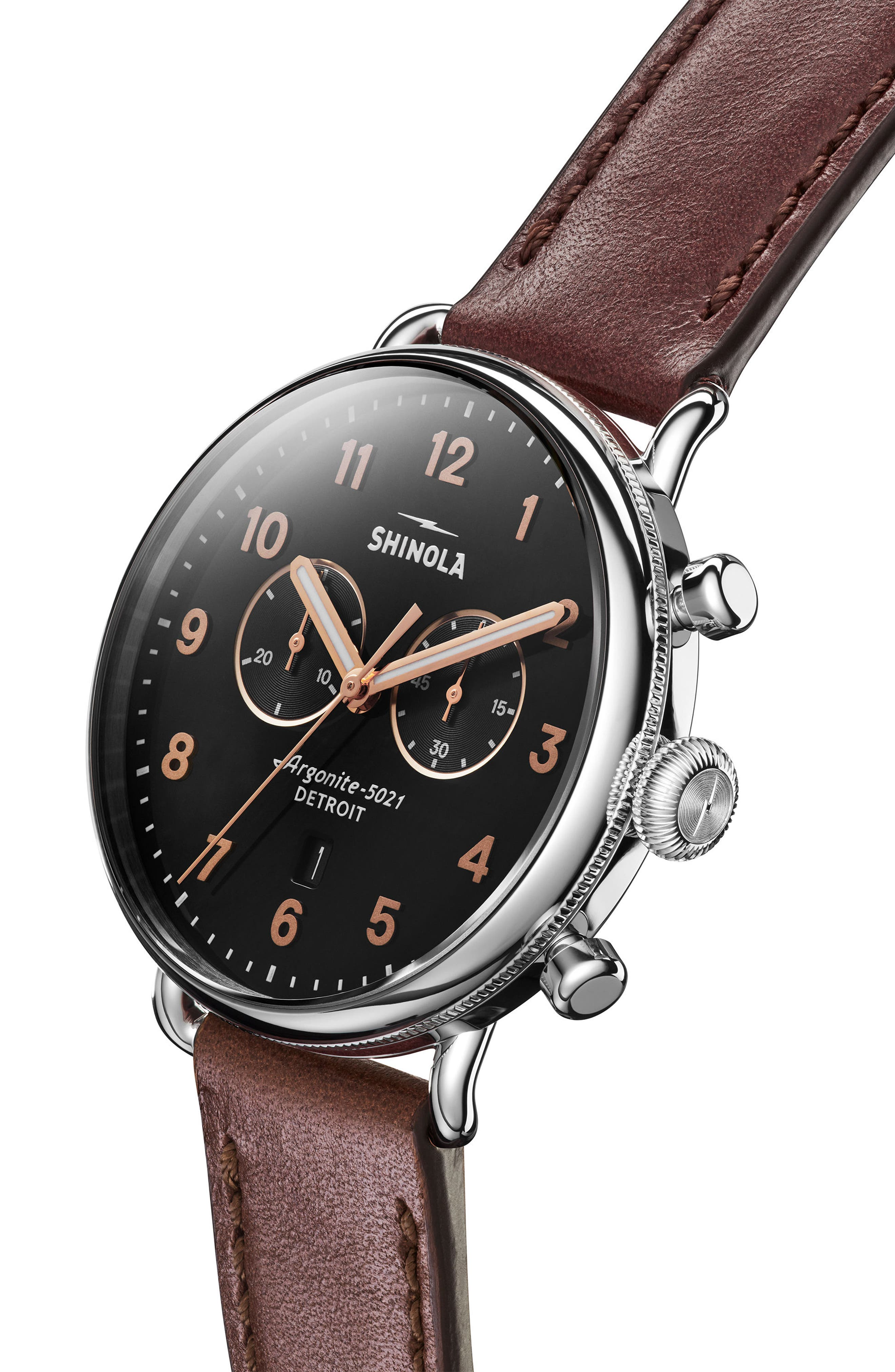 SHINOLA, The Canfield Chrono Leather Strap Watch, 43mm, Alternate thumbnail 5, color, DARK COGNAC/ BLACK/ SILVER