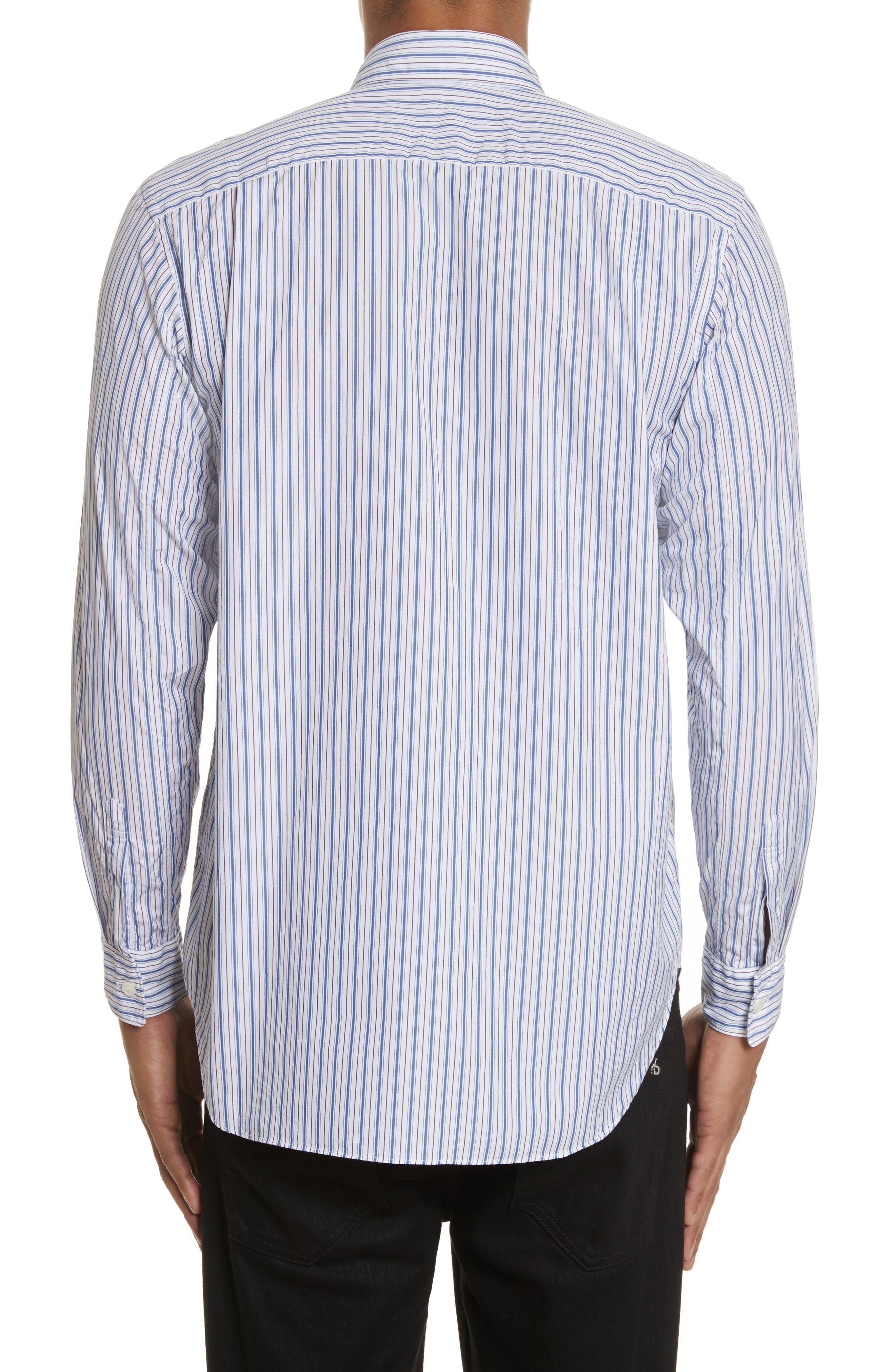 COMME DES GARÇONS PLAY, Black Heart Stripe Oxford Shirt, Alternate thumbnail 3, color, BLUE