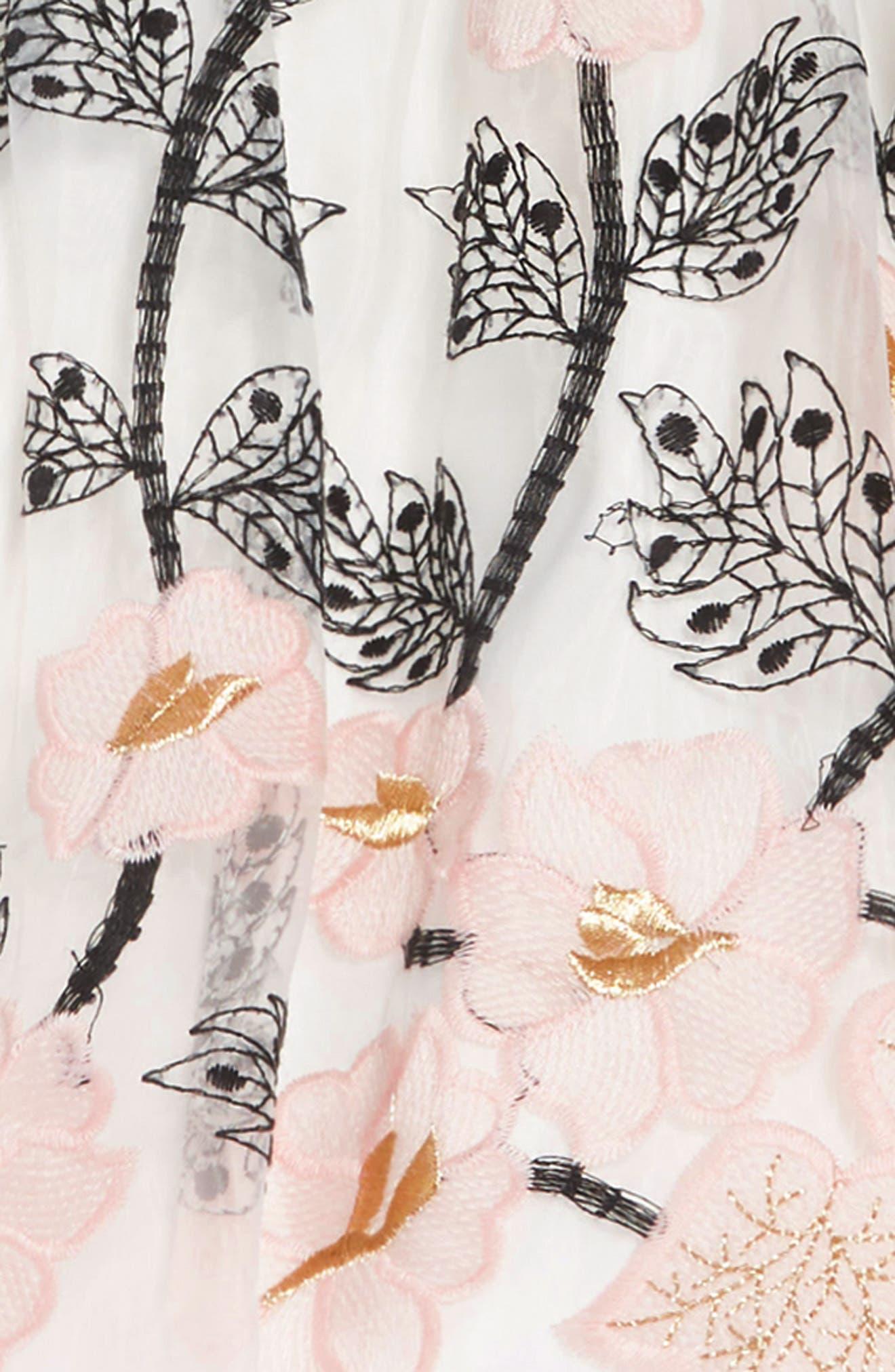 PIPPA & JULIE, Gingham & Floral Embellished Dress, Alternate thumbnail 3, color, BLACK/ WHITE