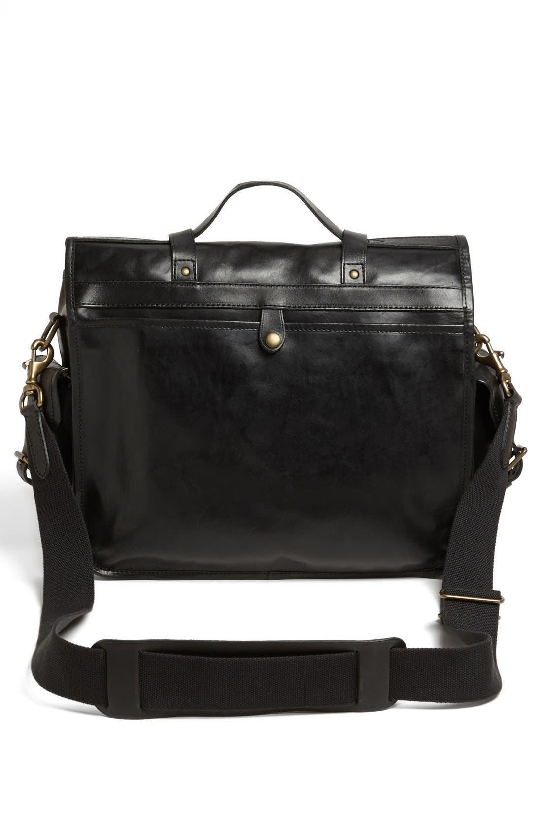 POLO RALPH LAUREN, Leather Briefcase, Alternate thumbnail 4, color, 001