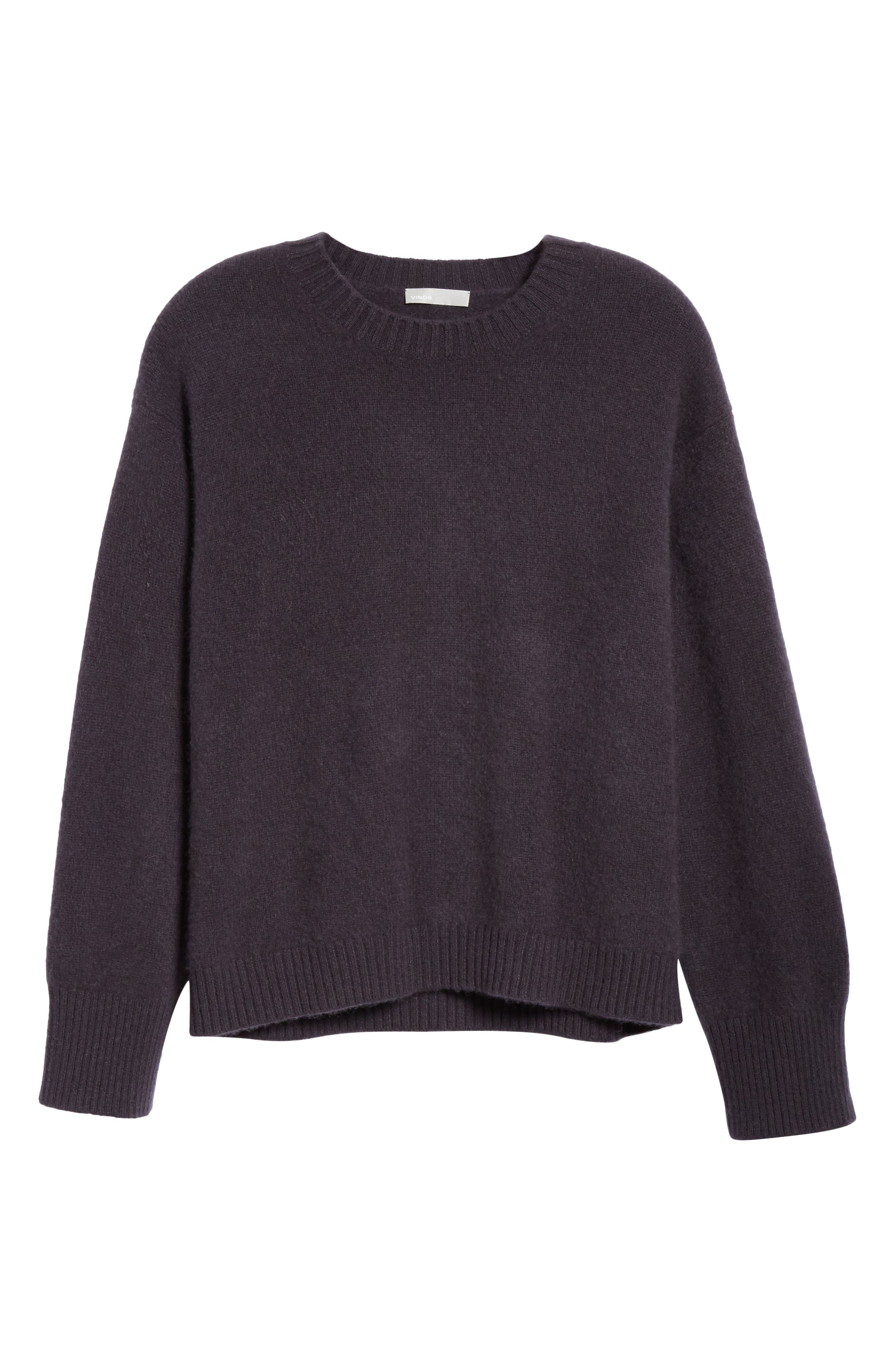 VINCE, Boxy Cashmere Sweater, Alternate thumbnail 6, color, OBSIDIAN