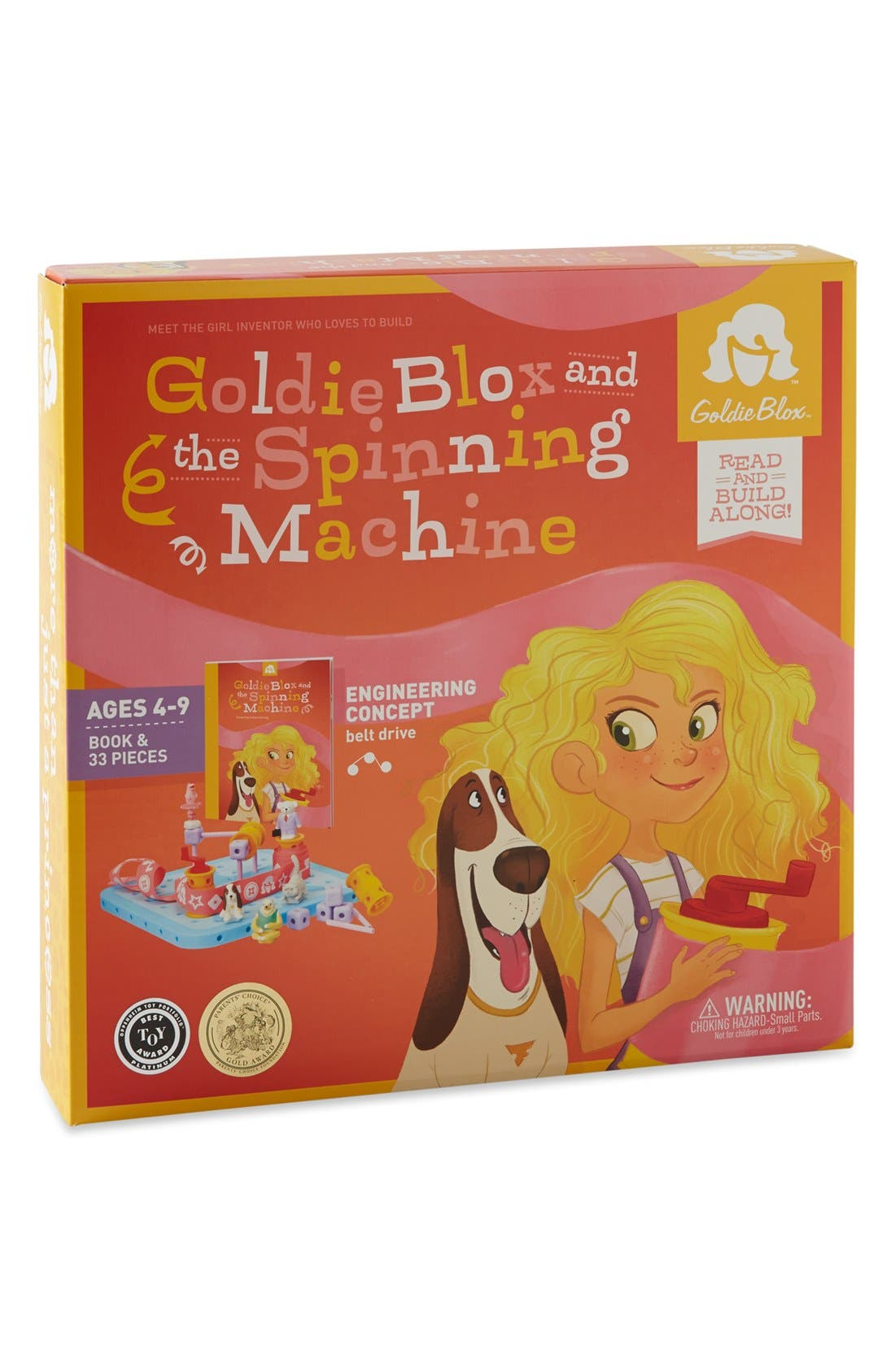 GOLDIEBLOX, 'GoldieBlox & the Spinning Machine' Book & Construction Set, Main thumbnail 1, color, 000