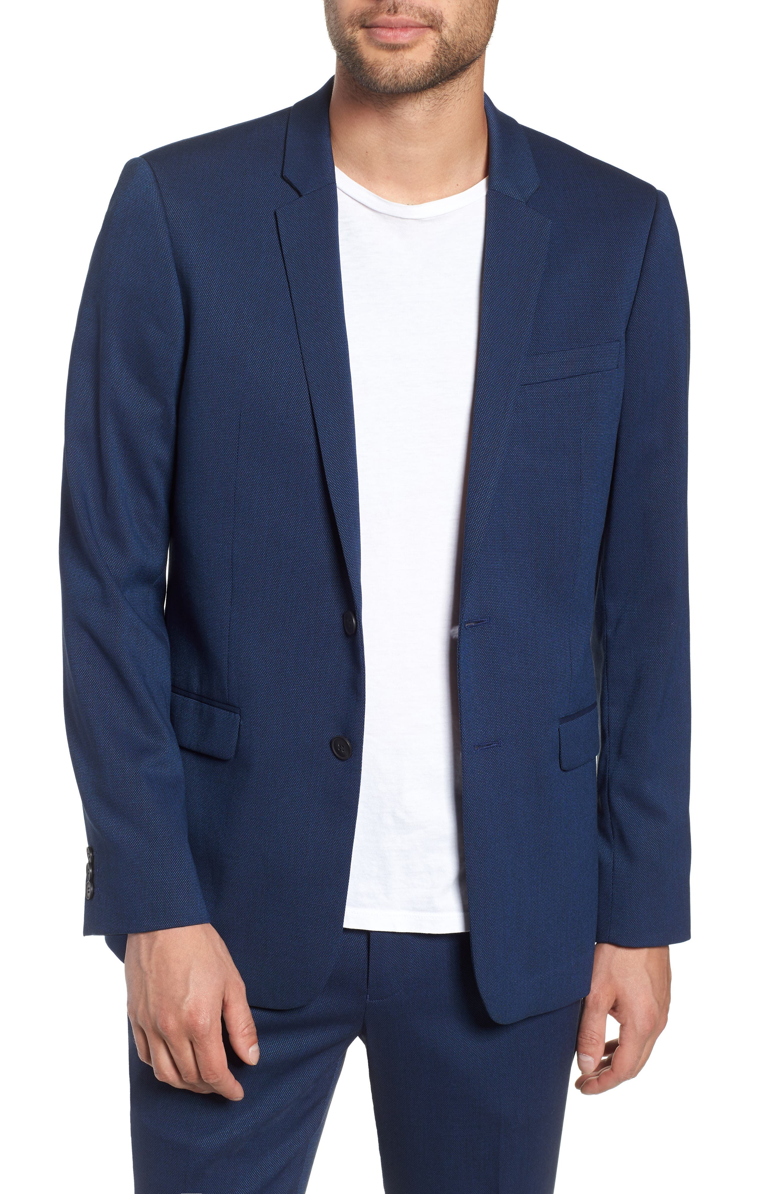TOPMAN, Skinny Fit Suit Jacket, Main thumbnail 1, color, BLUE