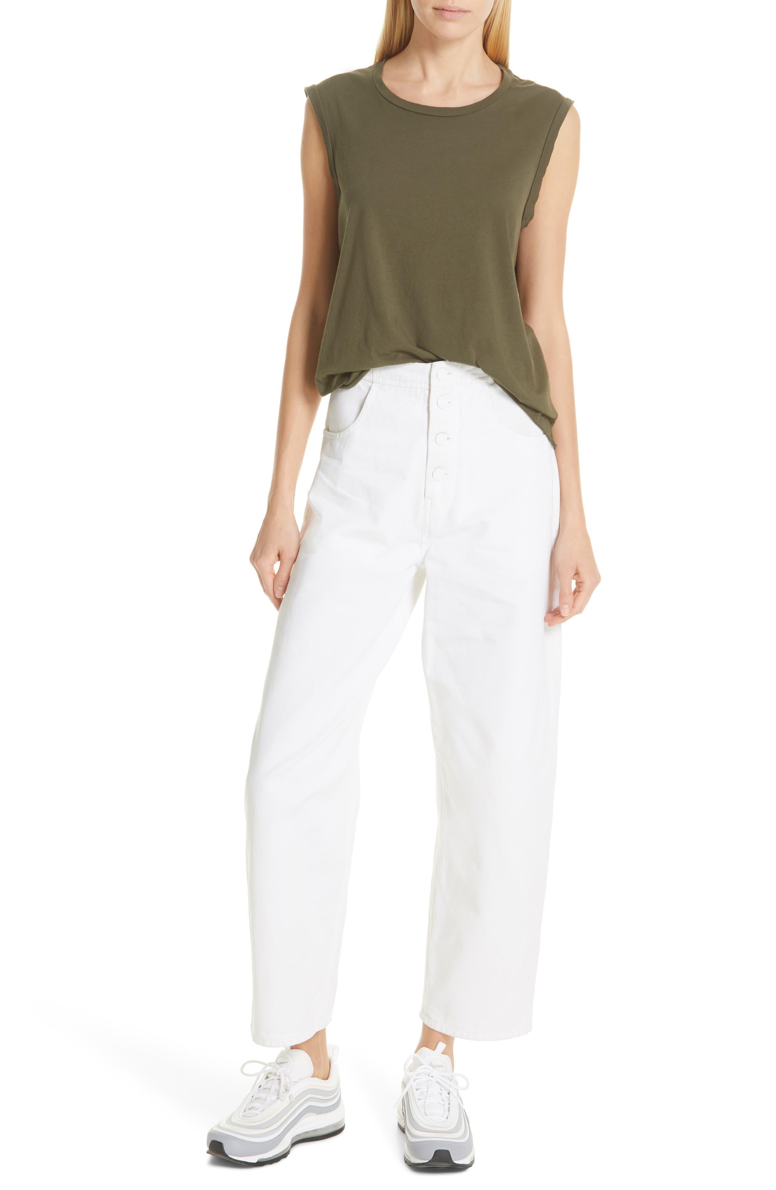 NILI LOTAN, Toledo Crop Cotton Pants, Alternate thumbnail 8, color, VINTAGE WHITE