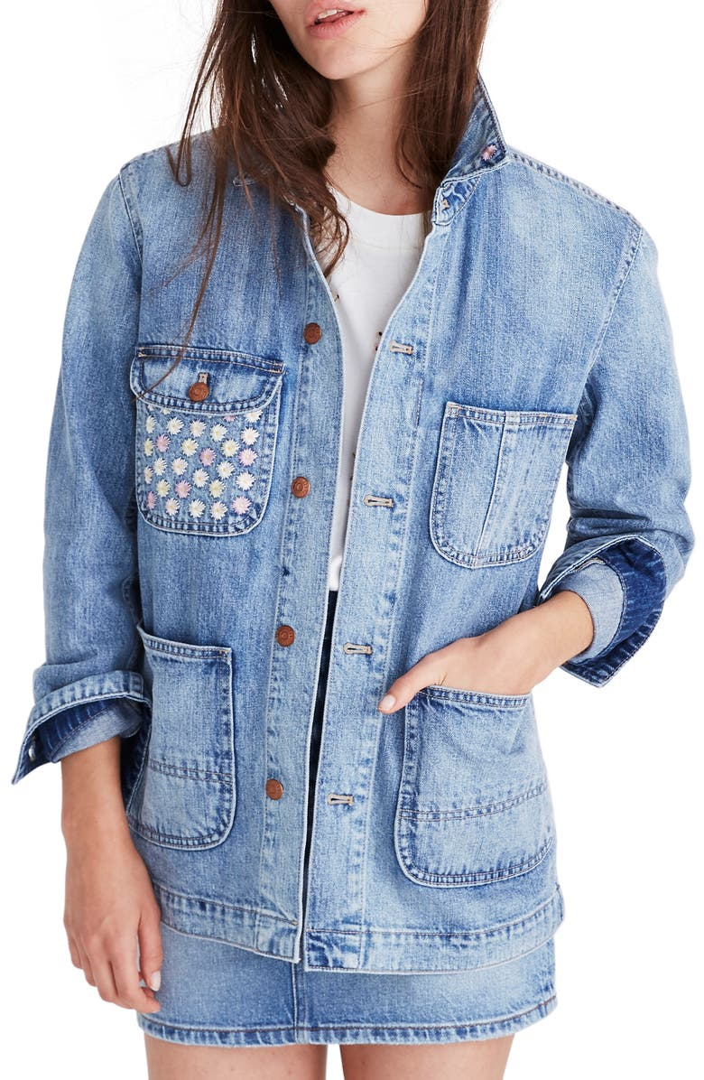 MADEWELL Embroidered Denim Chore Coat, Main, color, ROSSEAU WASH