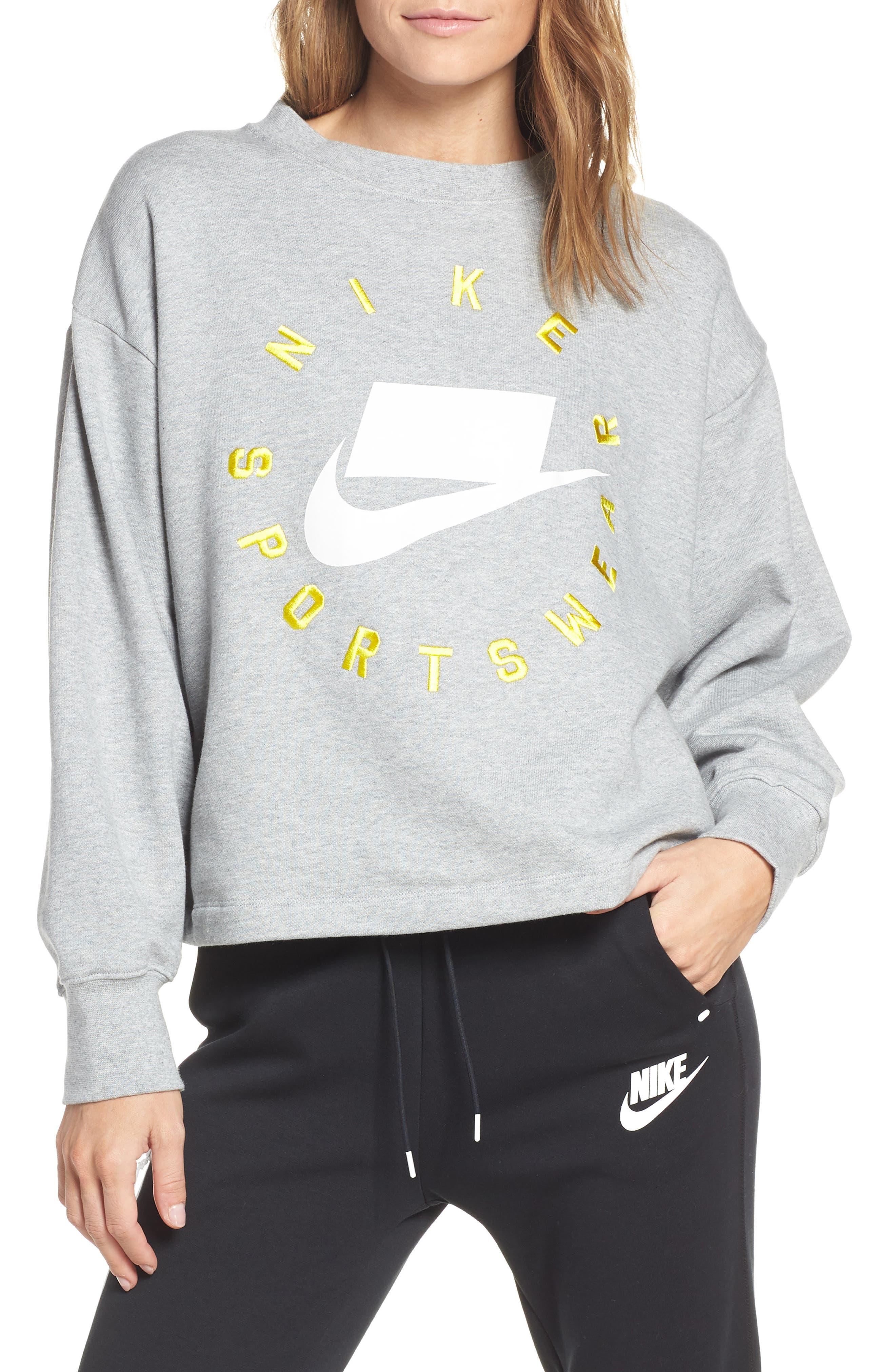 NIKE, Sportswear Logo Oversize Sweatshirt, Main thumbnail 1, color, DARK GREY HEATHER