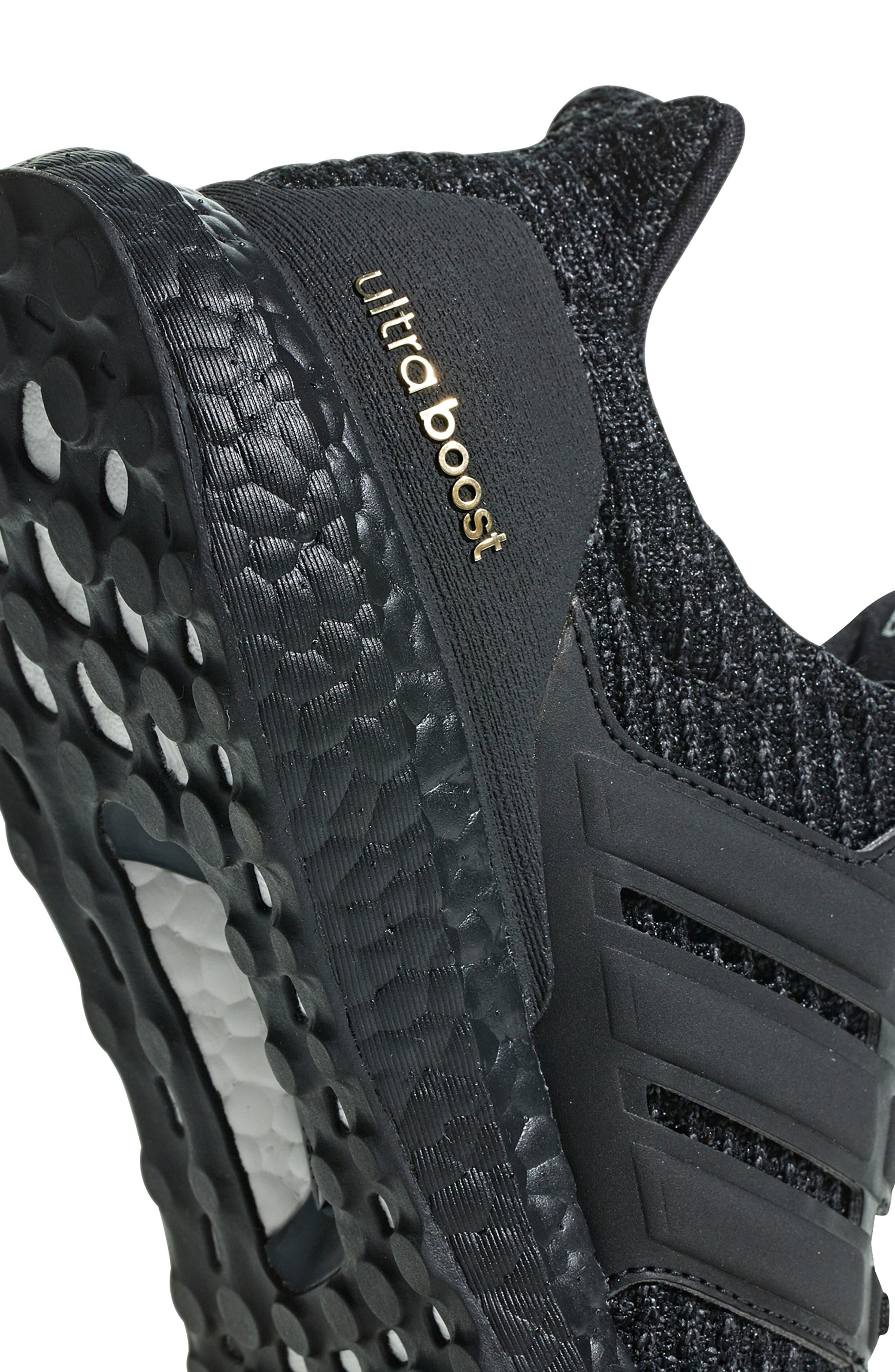 ADIDAS, 'UltraBoost' Running Shoe, Alternate thumbnail 6, color, CORE BLACK/ GOLD METALLIC