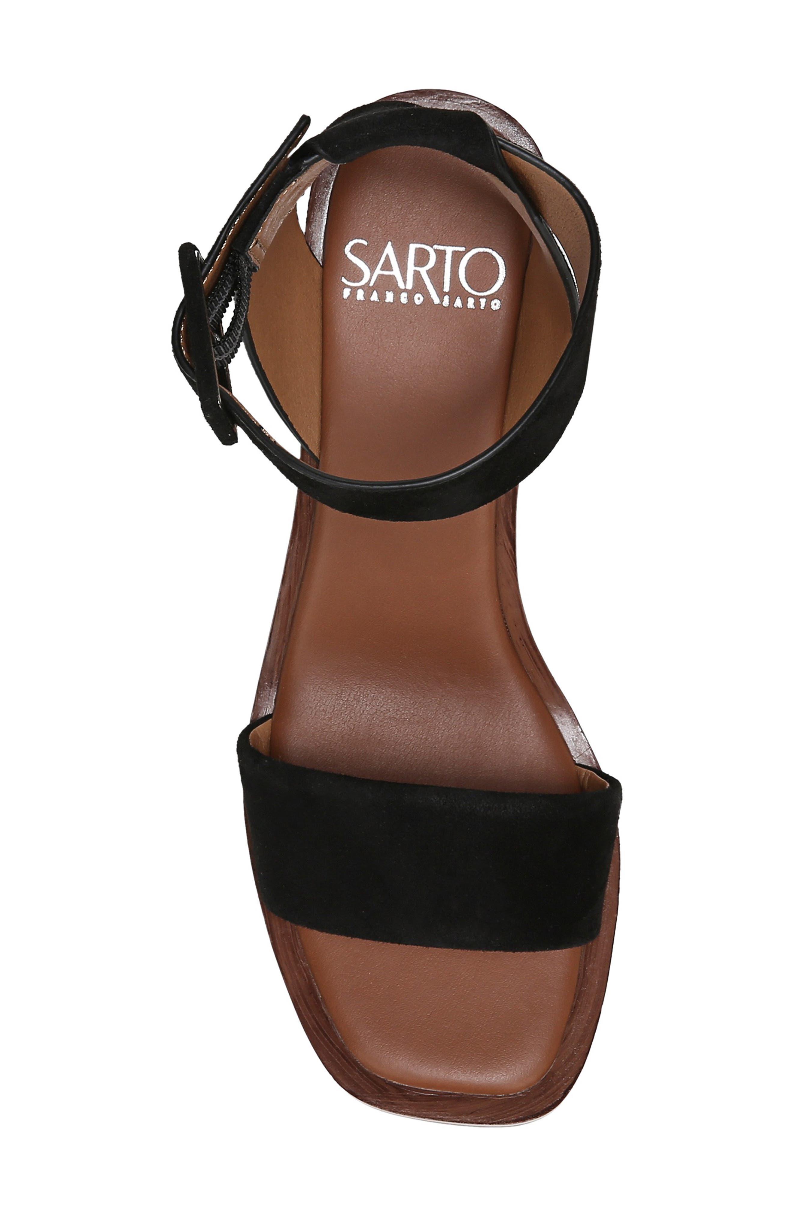 SARTO BY FRANCO SARTO, Risa Strap Sandal, Alternate thumbnail 5, color, BLACK SUEDE