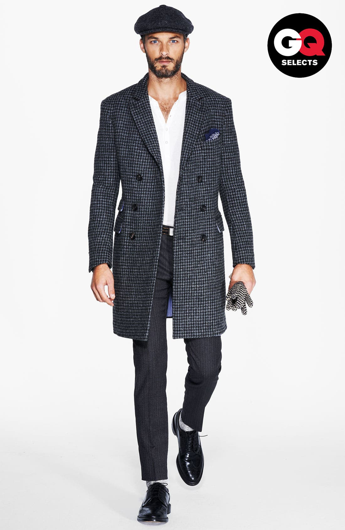 MICHAEL BASTIAN Double Breasted Houndstooth Topcoat, Main, color, 028