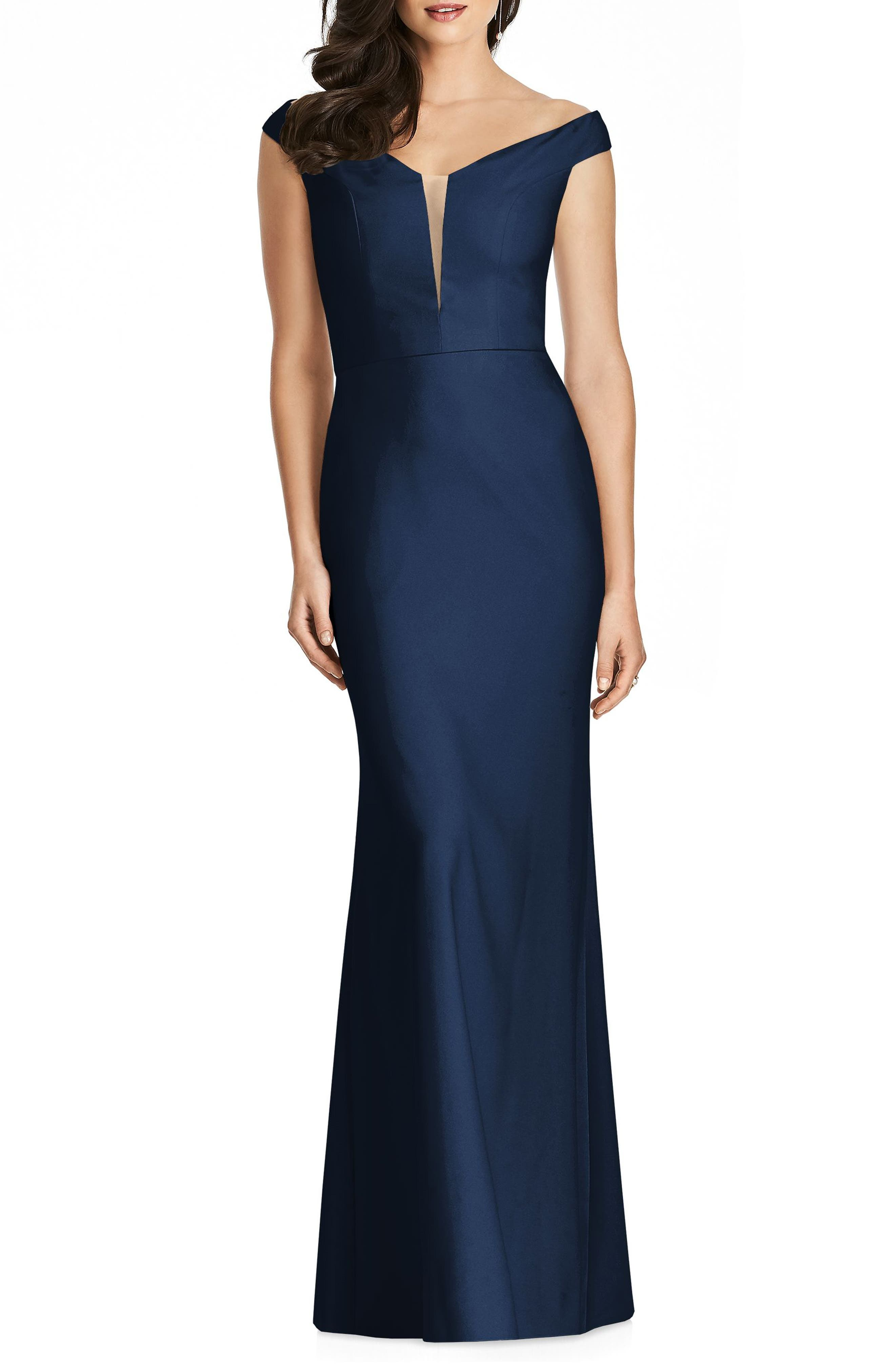 DESSY COLLECTION, Off the Shoulder Crepe Gown, Alternate thumbnail 3, color, MIDNIGHT