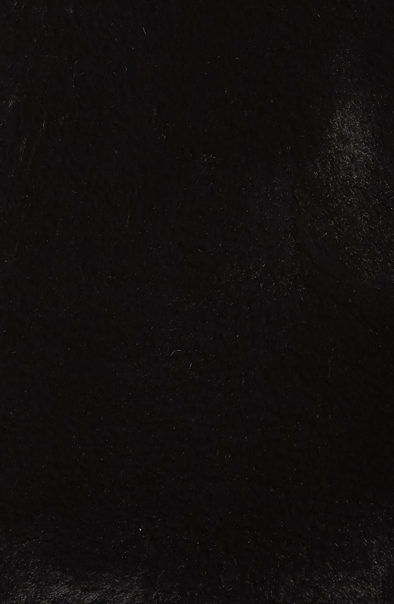 KENNETH COLE NEW YORK, Half-Zip Faux Fur Sweatshirt, Alternate thumbnail 5, color, BLACK