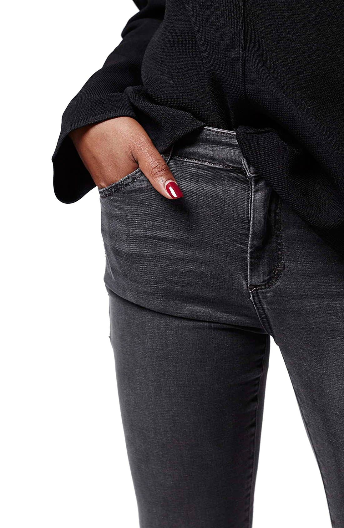 TOPSHOP, Moto 'Jamie' Skinny Jeans, Alternate thumbnail 3, color, 020