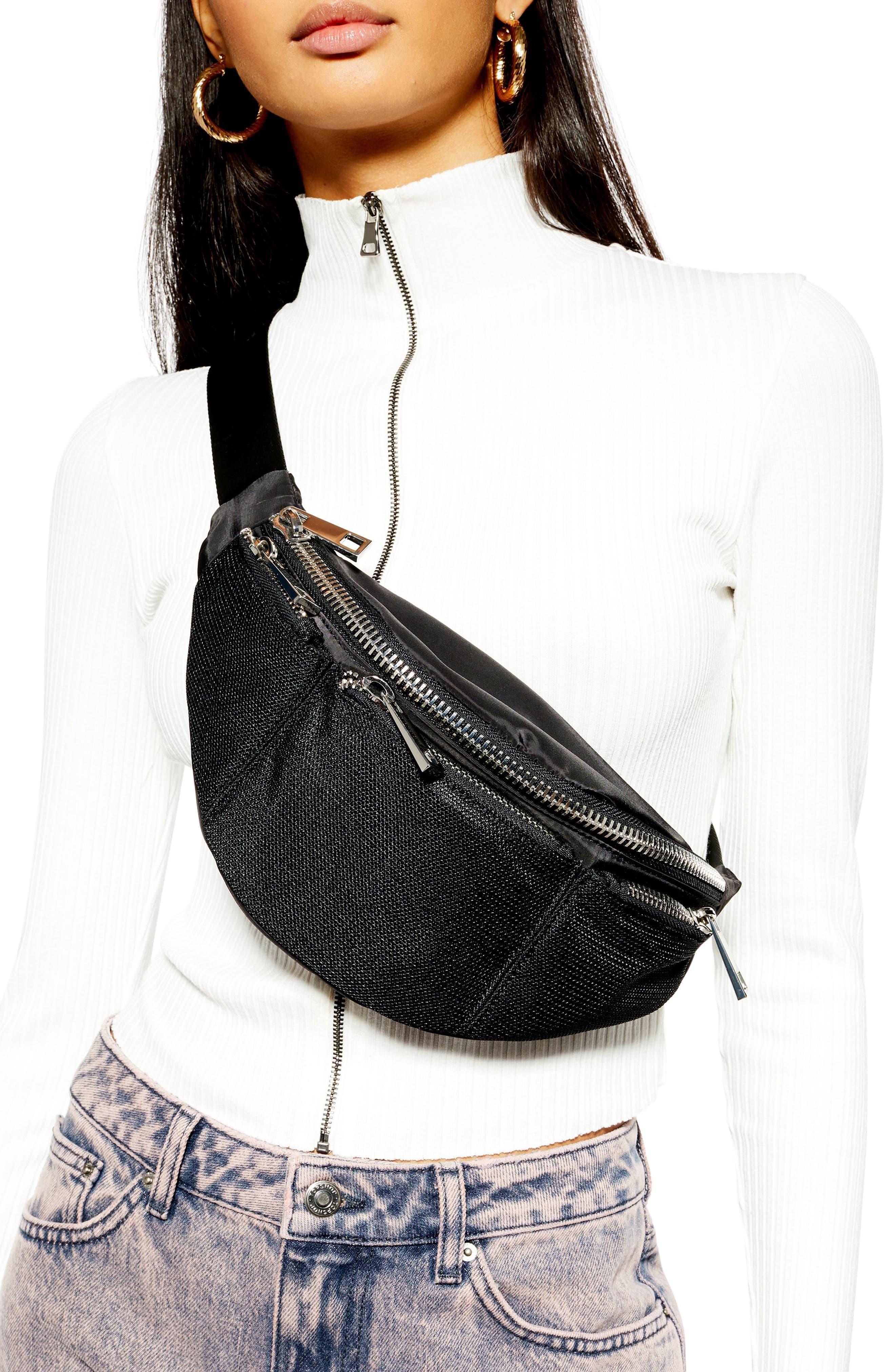 TOPSHOP, Warsaw Nylon Belt Bag, Alternate thumbnail 3, color, BLACK