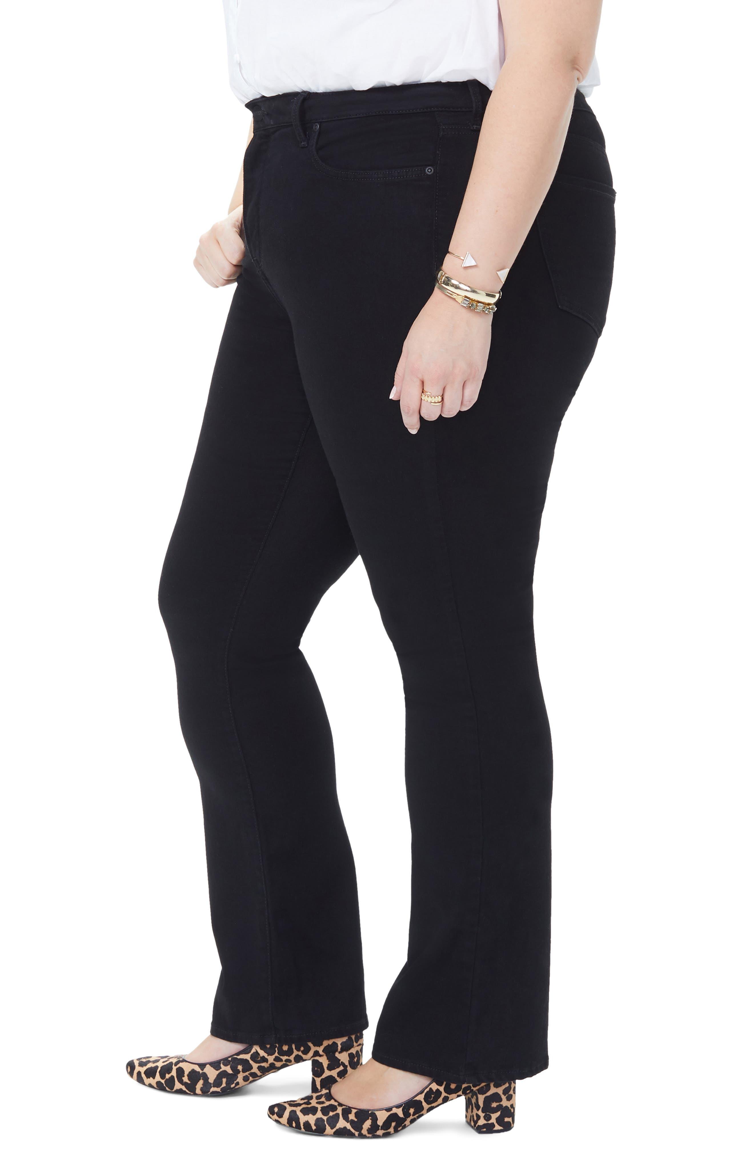 NYDJ, Barbara High Rise Bootcut Jeans, Alternate thumbnail 4, color, BLACK