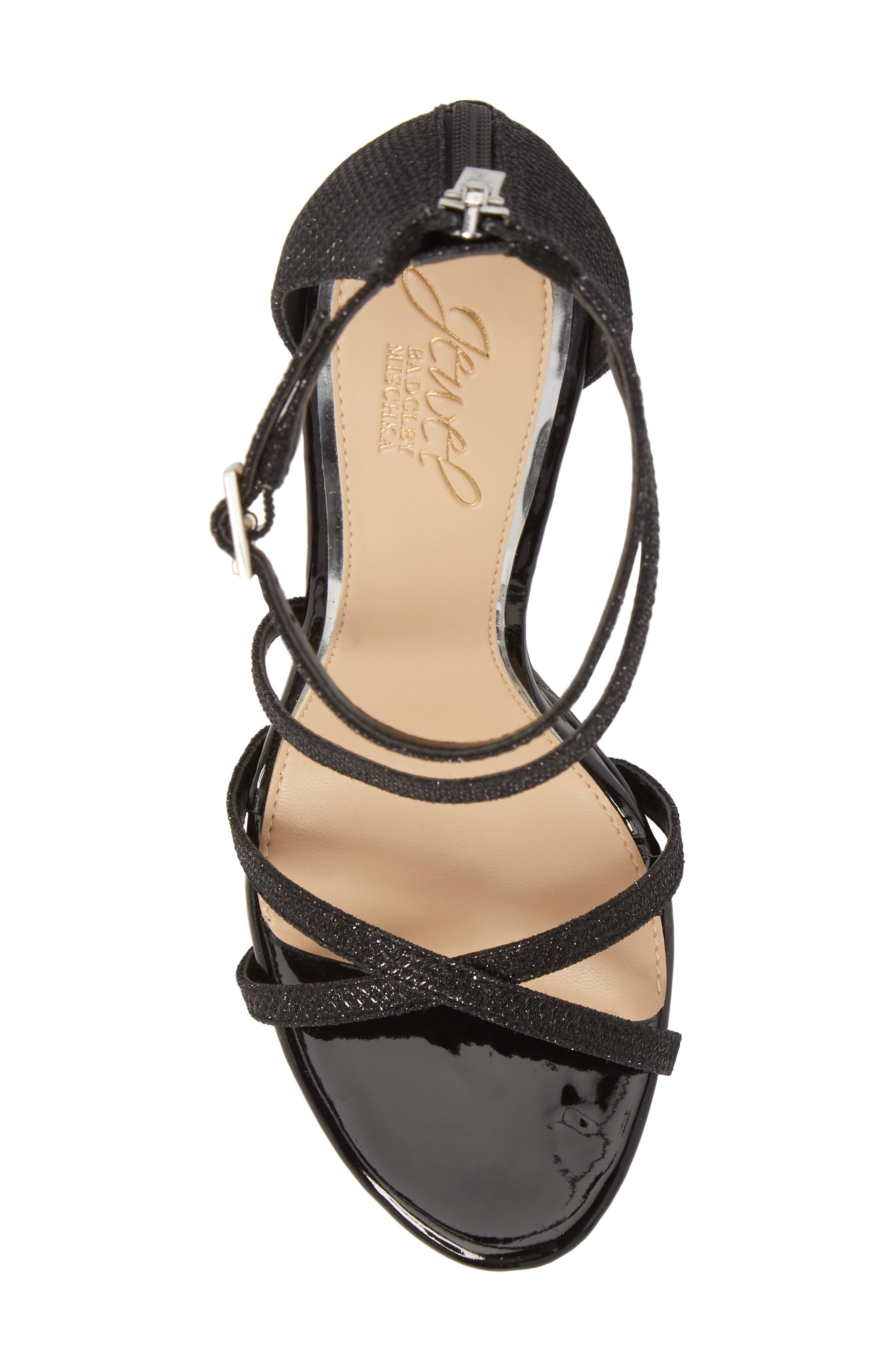 JEWEL BADGLEY MISCHKA, Galen Strappy Platform Sandal, Alternate thumbnail 5, color, BLACK GLITTER FABRIC