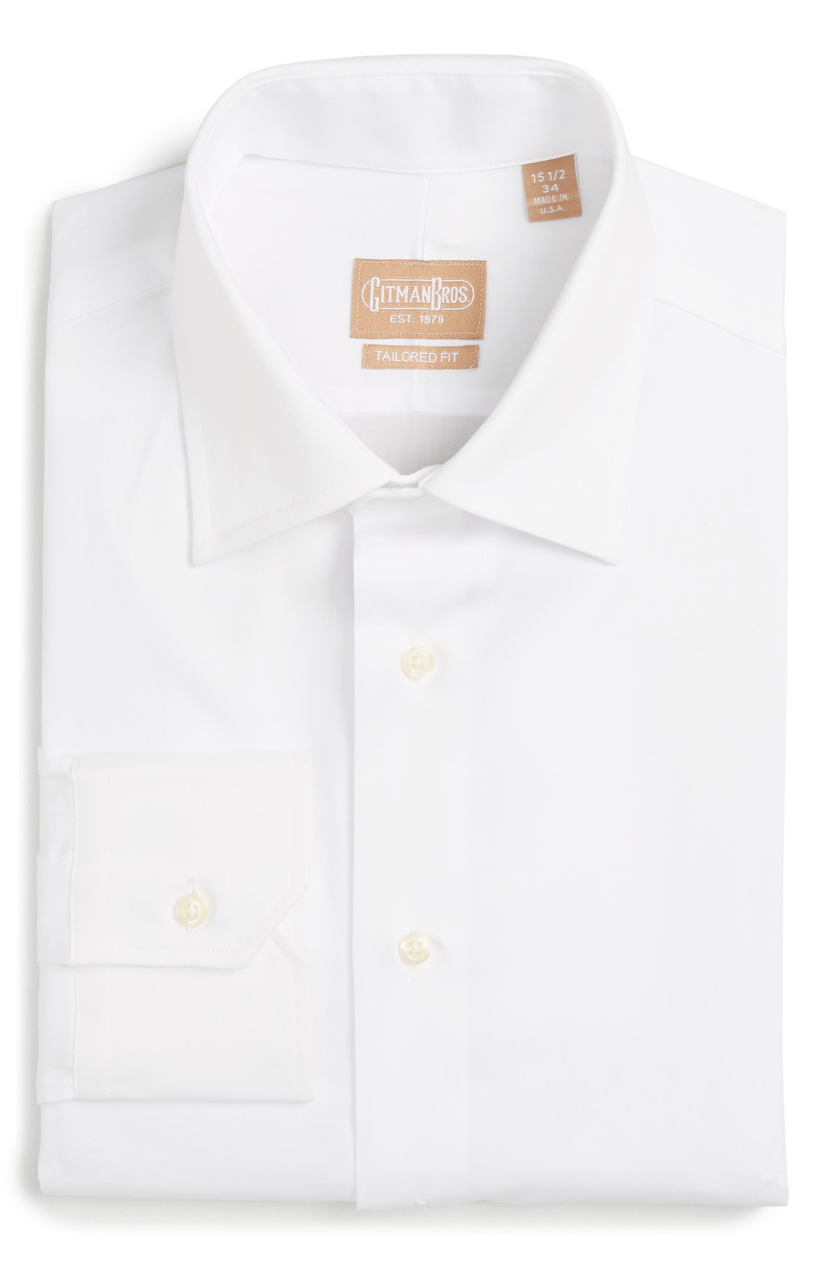 GITMAN, Tailored Fit Solid Dress Shirt, Alternate thumbnail 2, color, WHITE