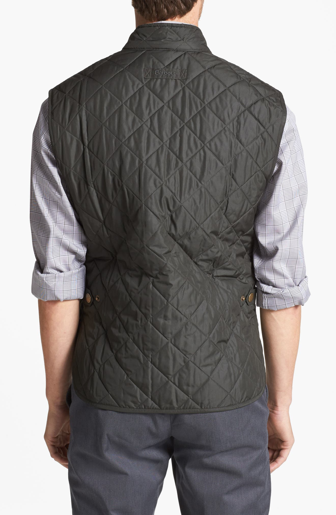 BARBOUR, Lowerdale Quilted Vest, Main thumbnail 1, color, DARK GREEN