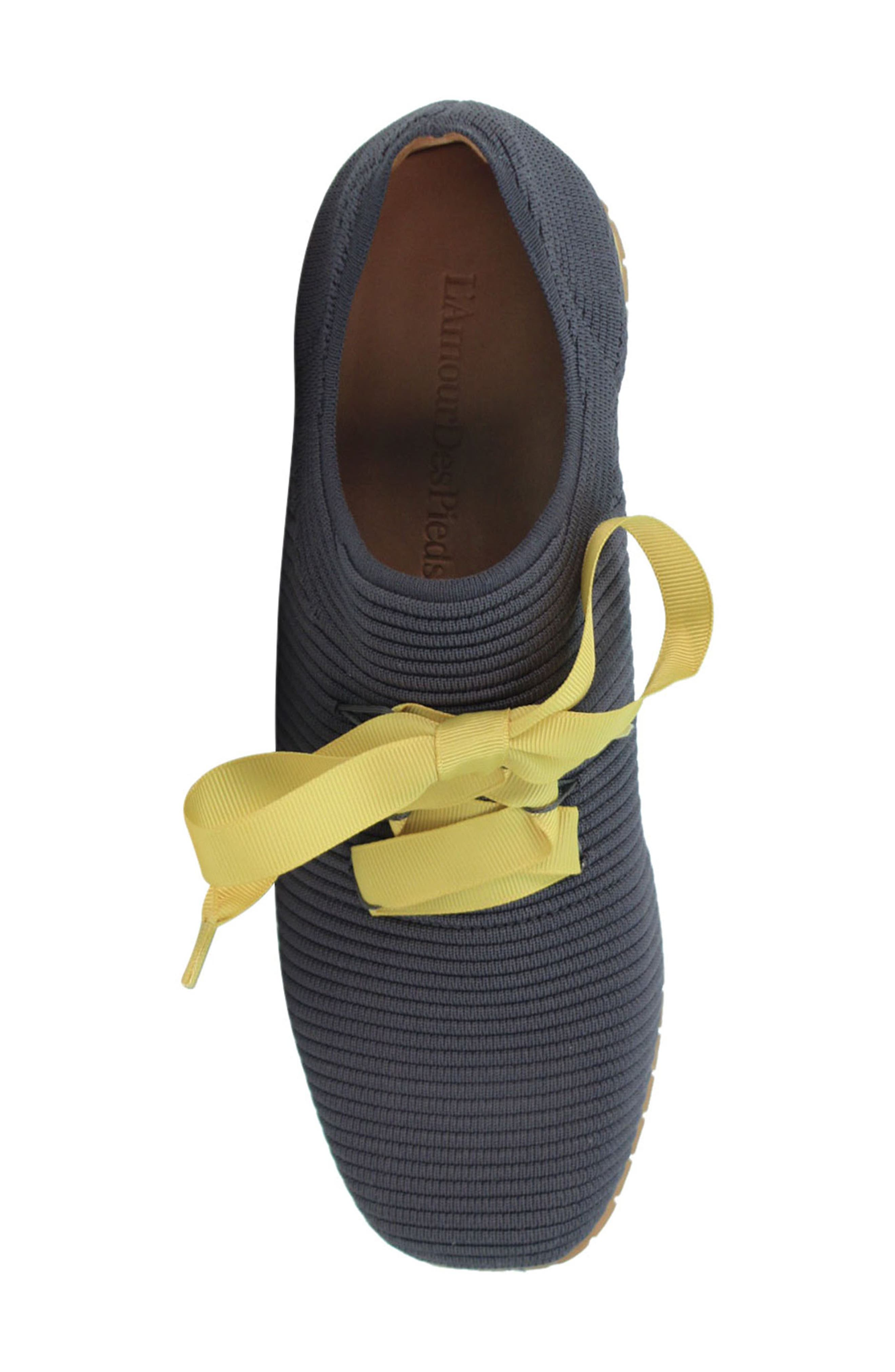L'AMOUR DES PIEDS, Taimah Sneaker, Alternate thumbnail 5, color, DARK GREY/ YELLOW FABRIC