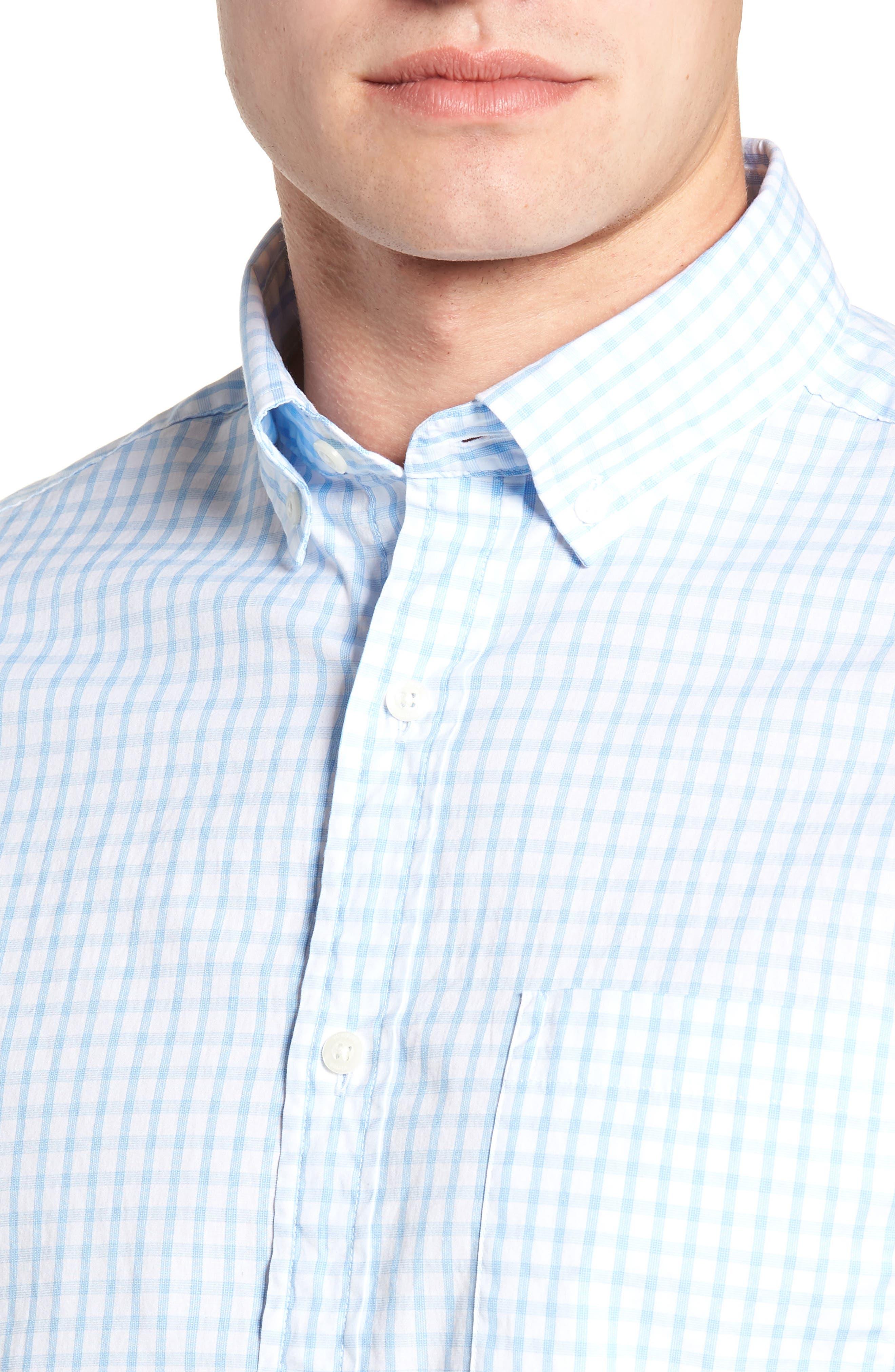 VINEYARD VINES, Micro Graph Classic Fit Check Sport Shirt, Alternate thumbnail 4, color, OCEAN BREEZE