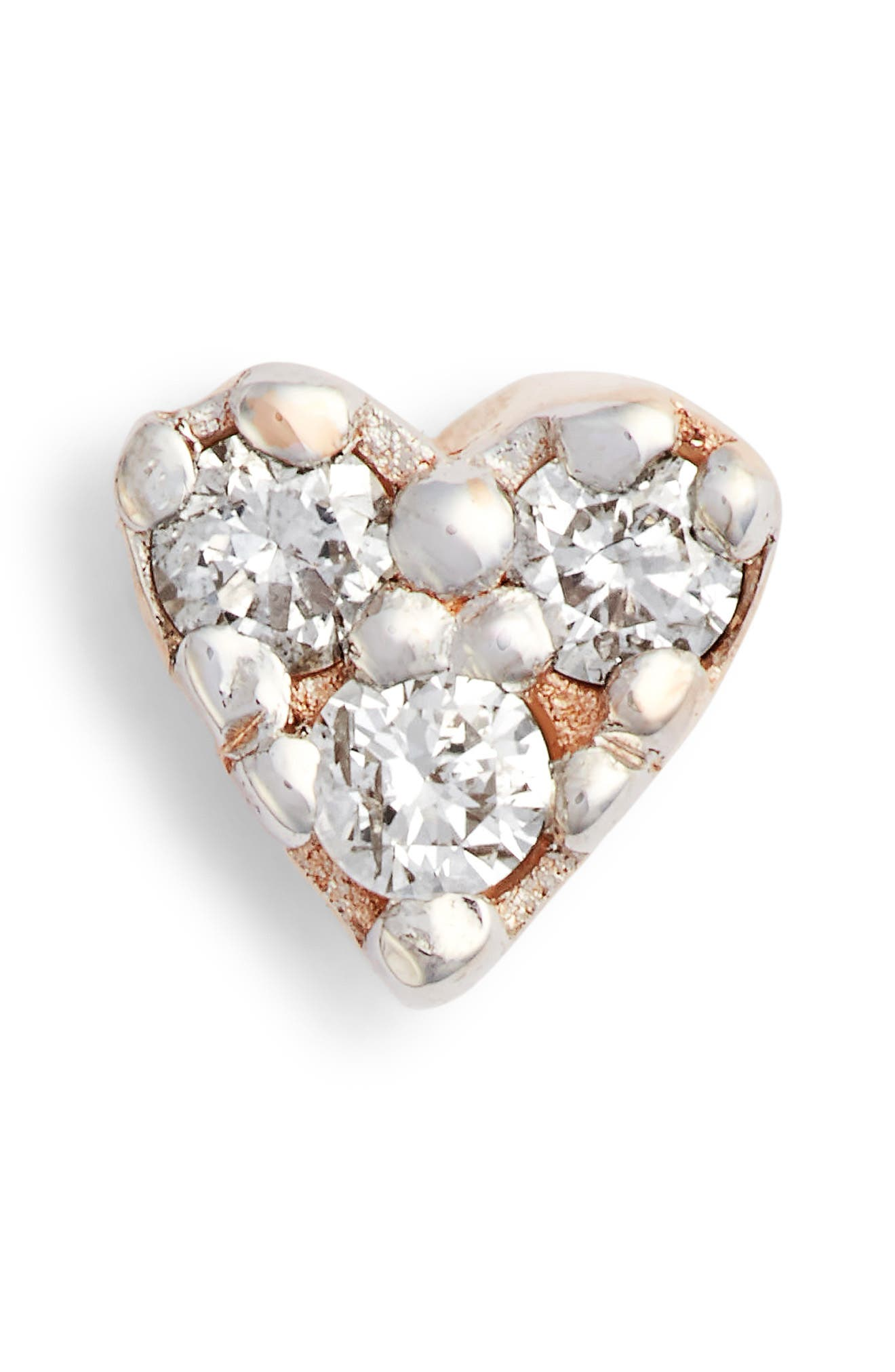 KISMET BY MILKA, Single Diamond Tiny Heart Earring, Main thumbnail 1, color, ROSE GOLD