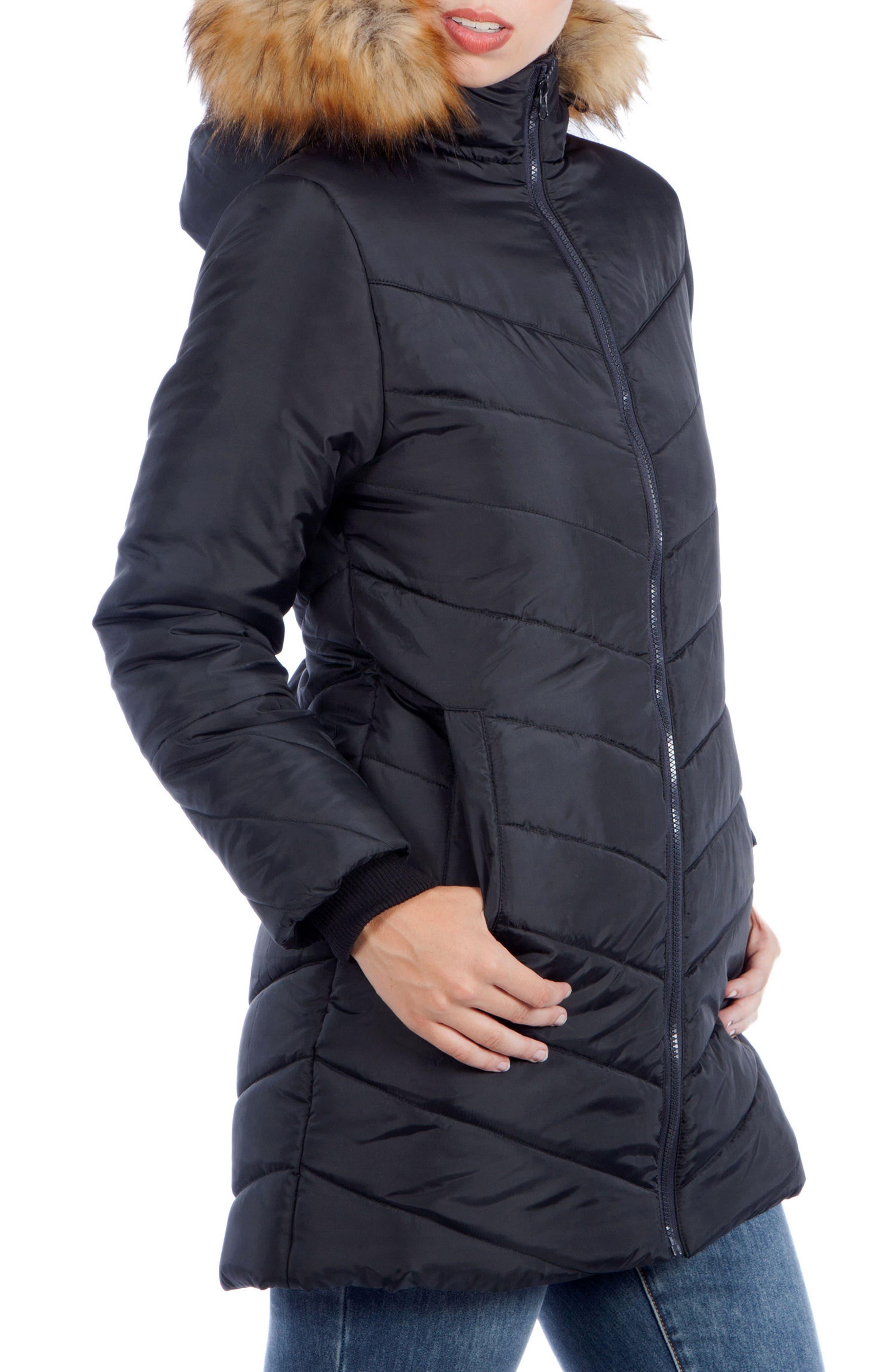 MODERN ETERNITY, Faux Fur Trim Convertible Puffer 3-in-1 Maternity Jacket, Alternate thumbnail 4, color, BLACK