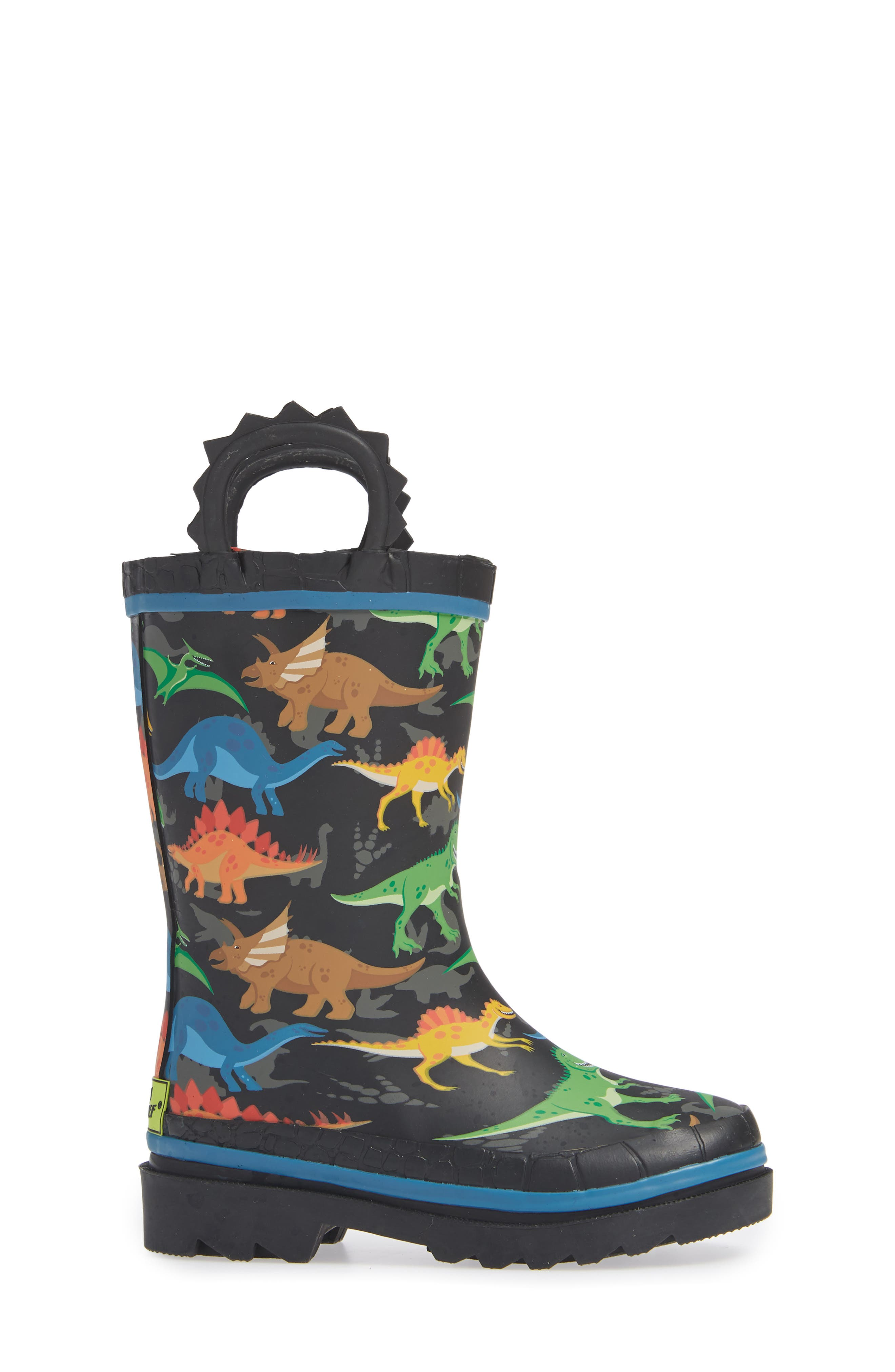 WESTERN CHIEF, Dino World Waterproof Rain Boots, Alternate thumbnail 3, color, BLACK