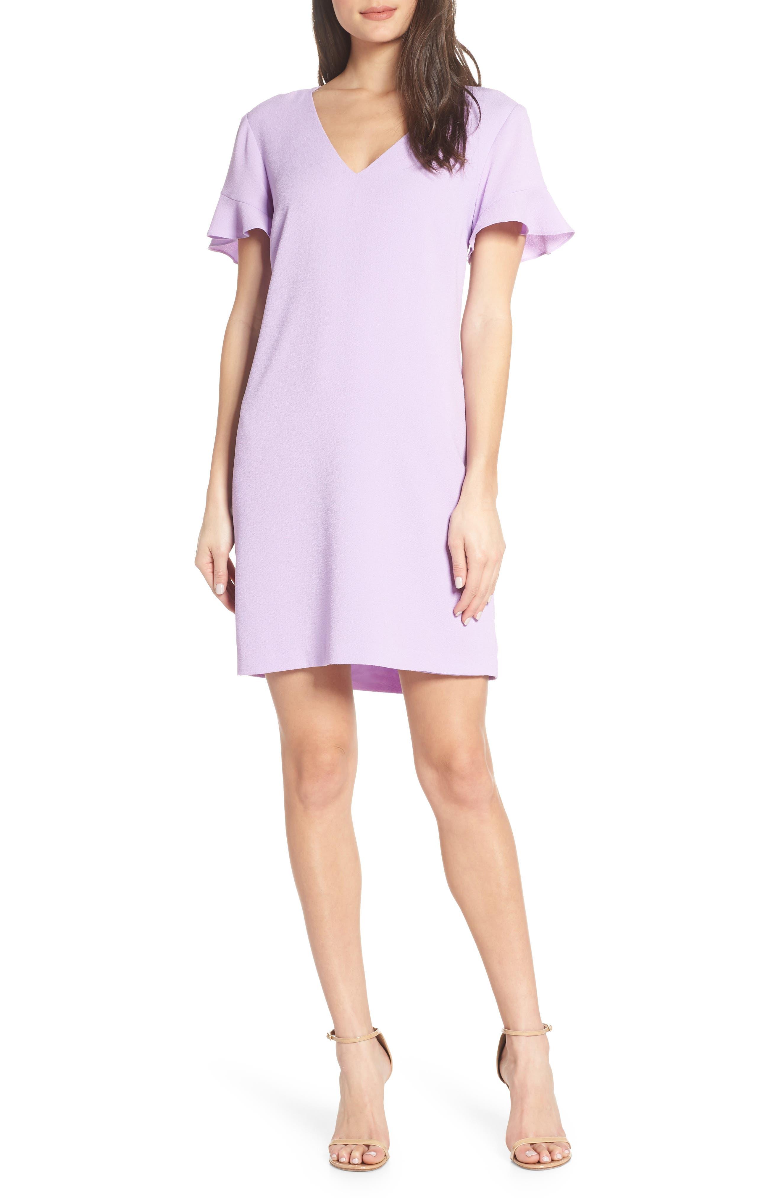 Charles Henry Tie Back Shift Dress, Purple