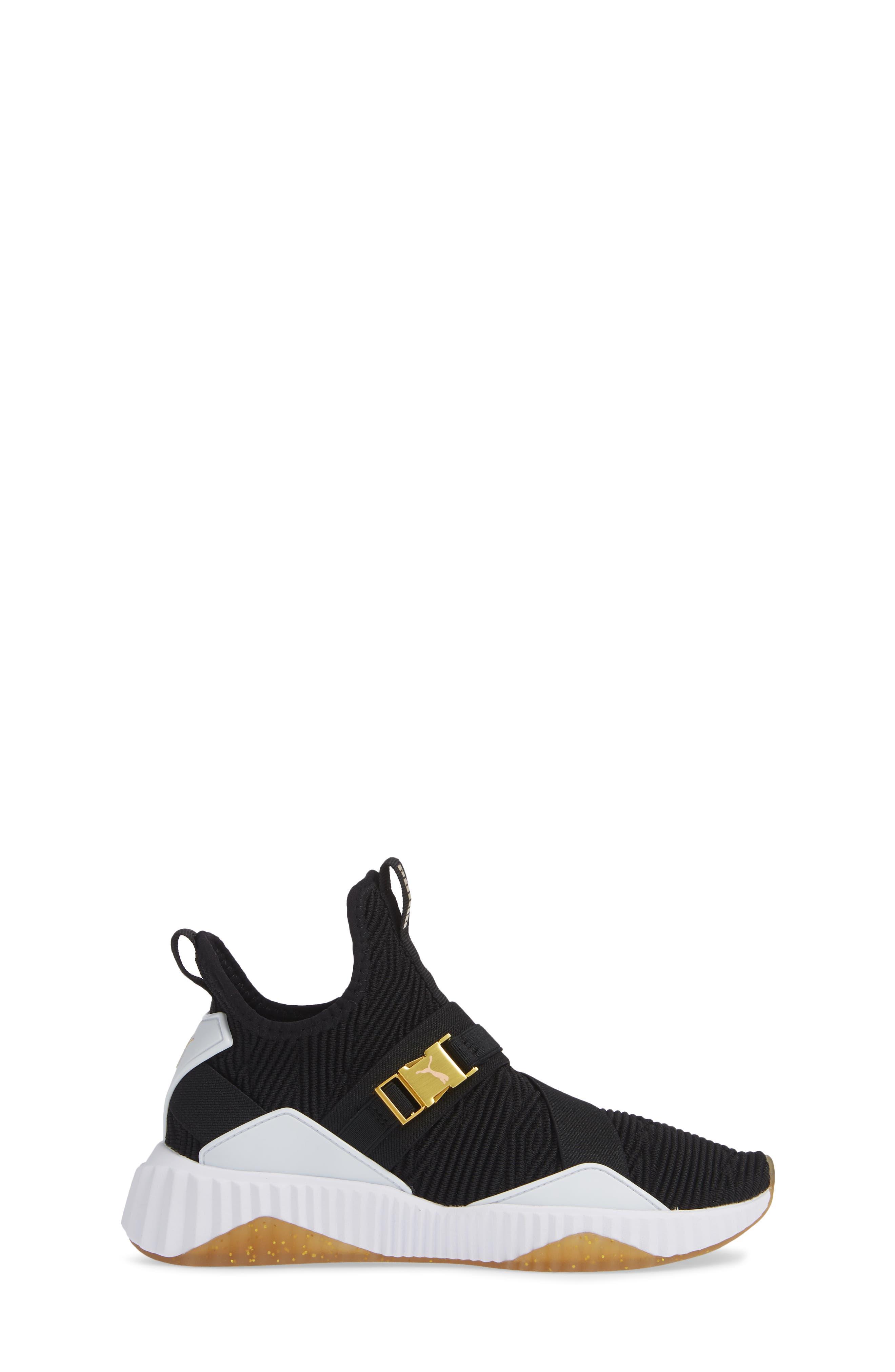 PUMA, Defy Mid Varsity Sneaker, Alternate thumbnail 3, color, BLACK/ METALLIC GOLD