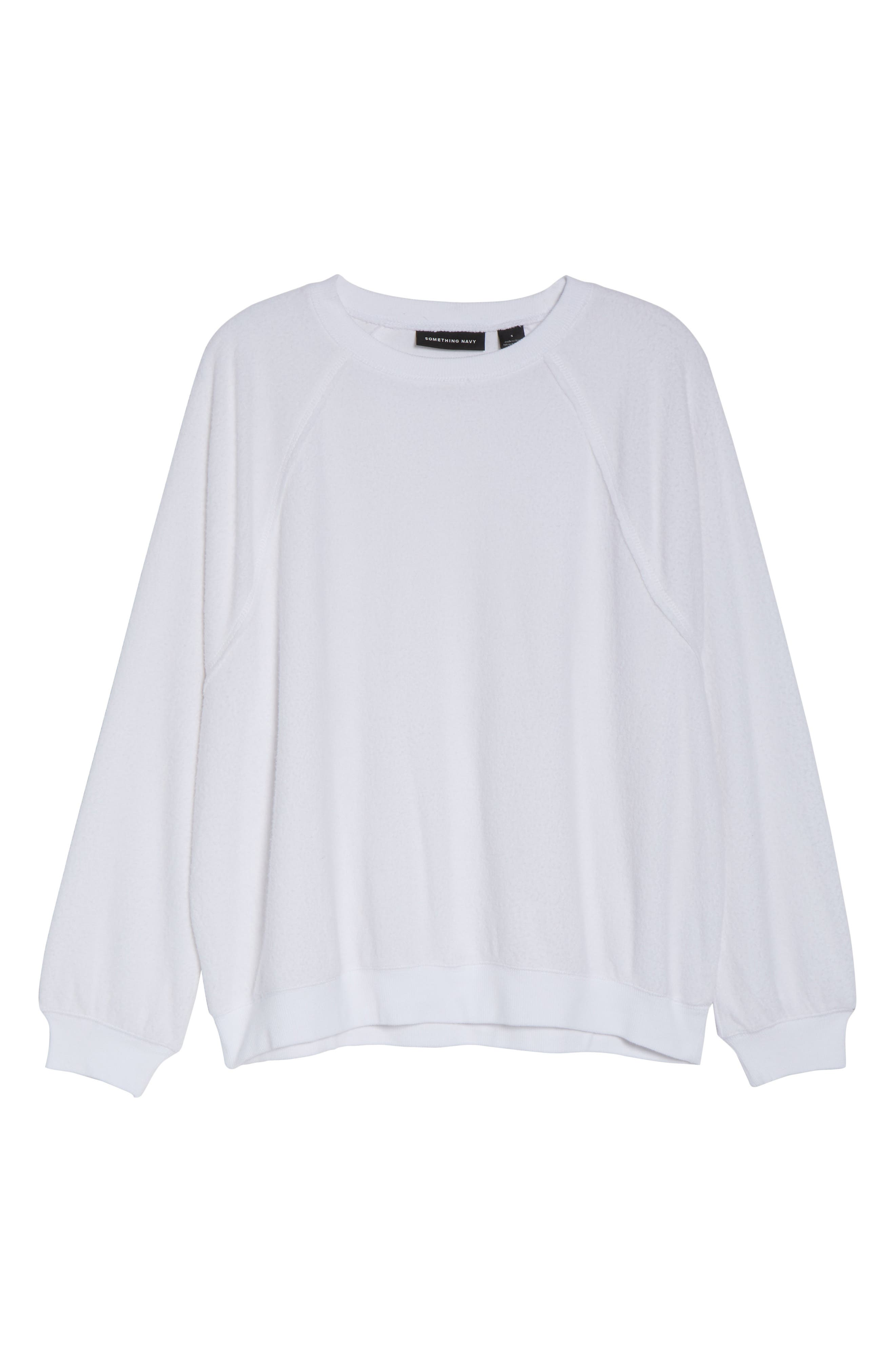 SOMETHING NAVY, Batwing Fleece Pullover, Alternate thumbnail 7, color, WHITE