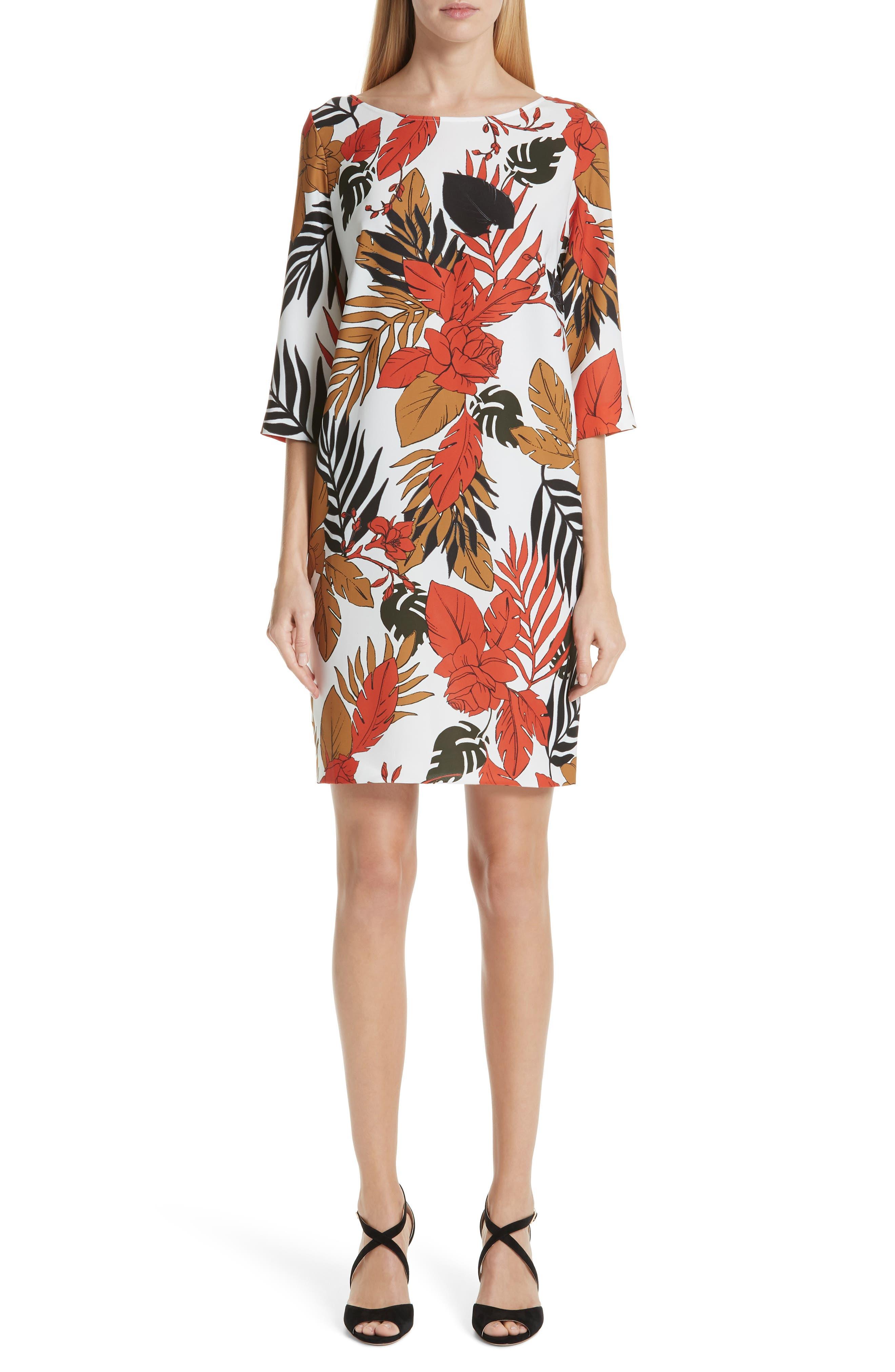 Fuzzi Floral Shift Dress, 8 IT - White