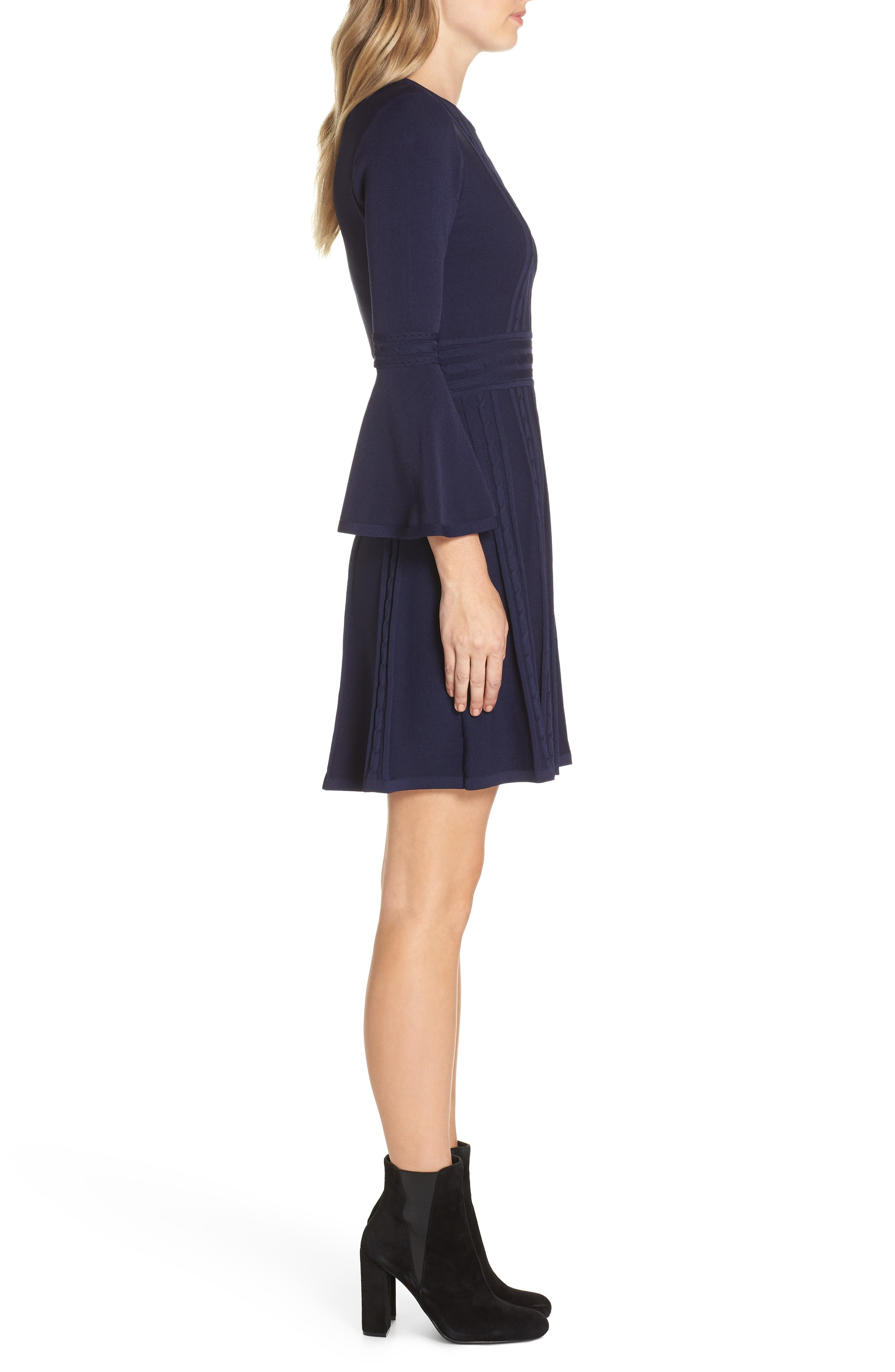 ELIZA J, Bell Sleeve Sweater Dress, Alternate thumbnail 4, color, 410