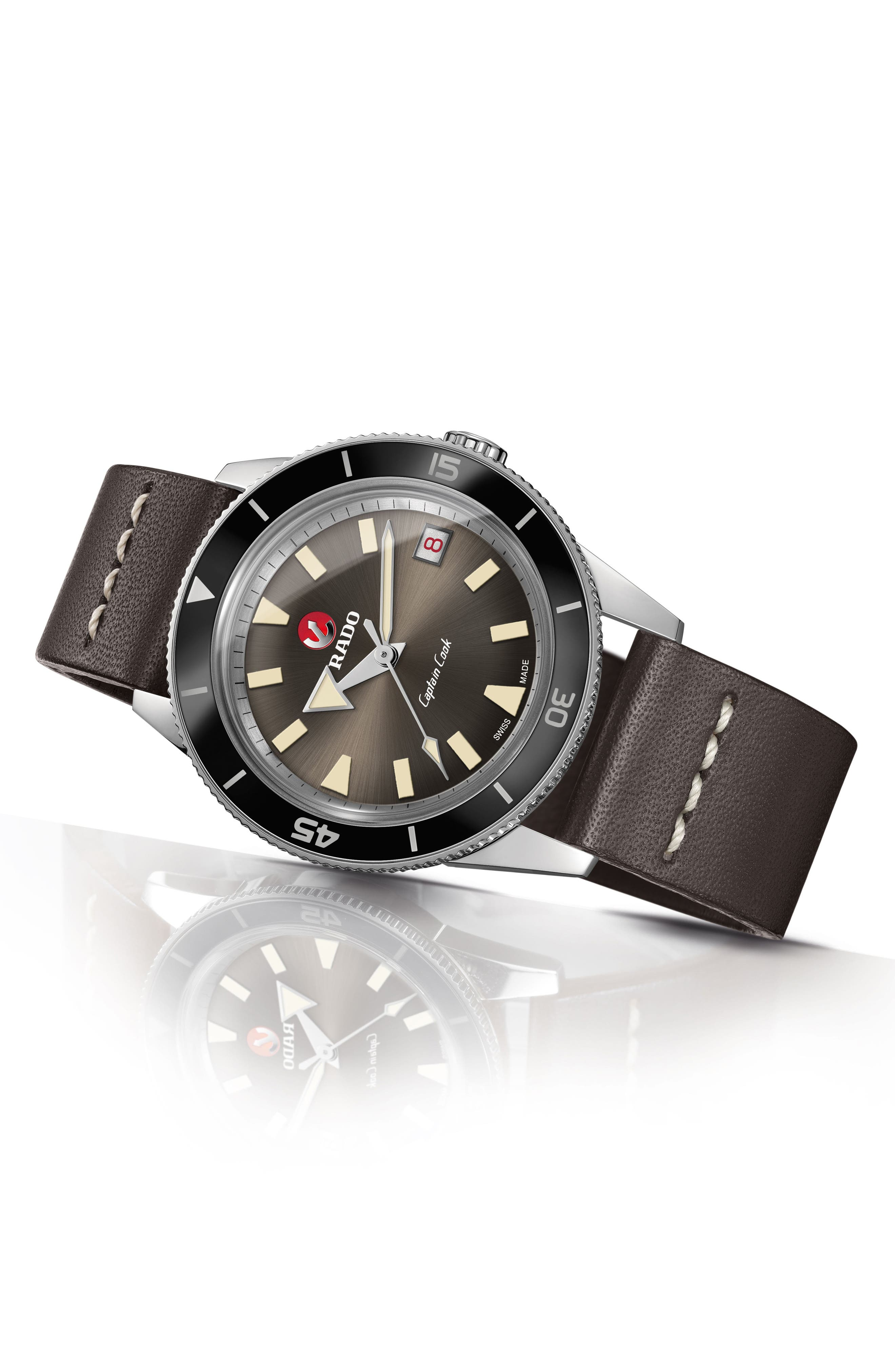 RADO, HyperChrome Captain Cook Automatic Leather Strap Watch, 37.3mm, Alternate thumbnail 4, color, BROWN/ SILVER
