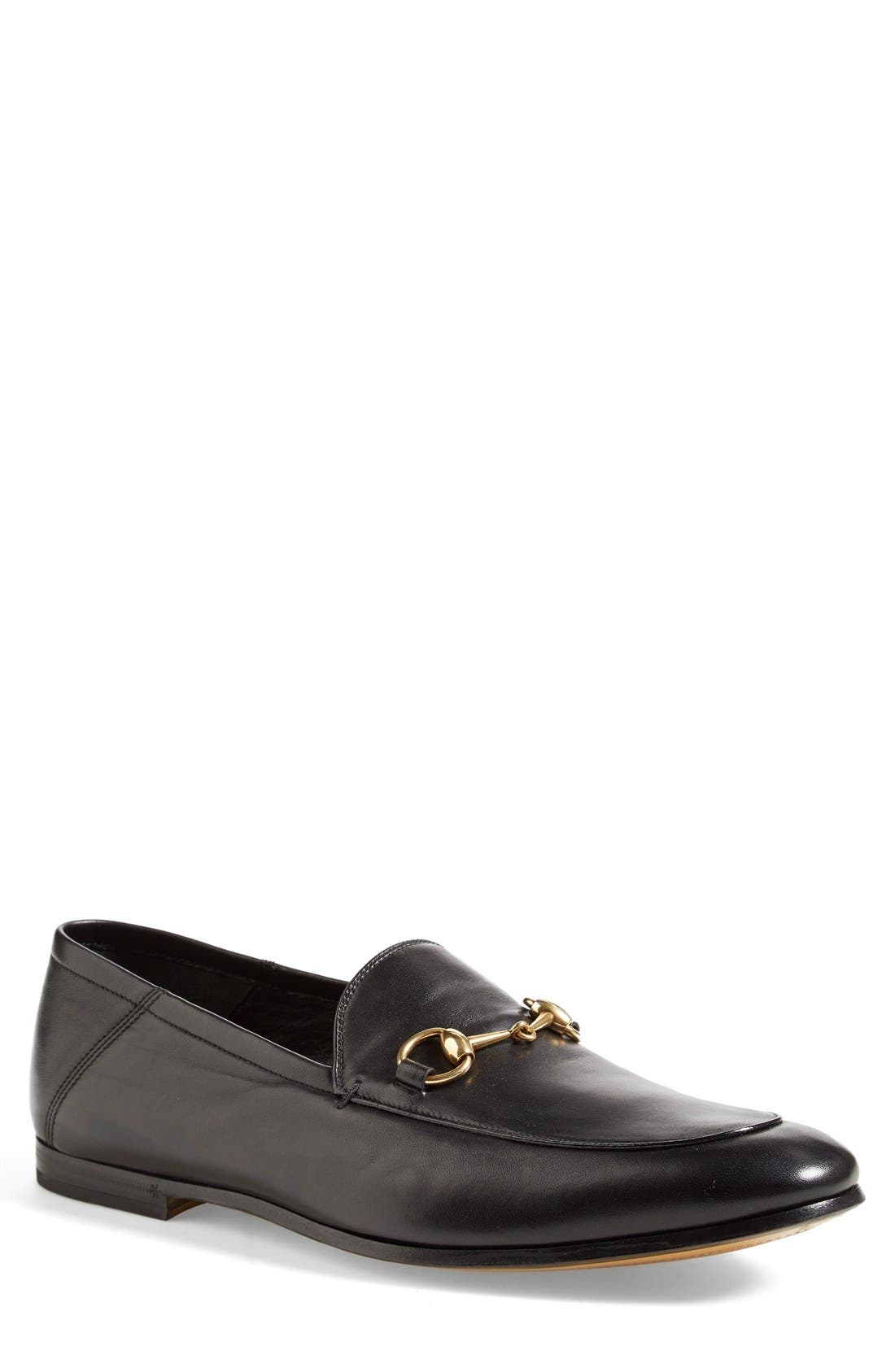 GUCCI, Brixton Leather Loafer, Main thumbnail 1, color, NERO LEATHER