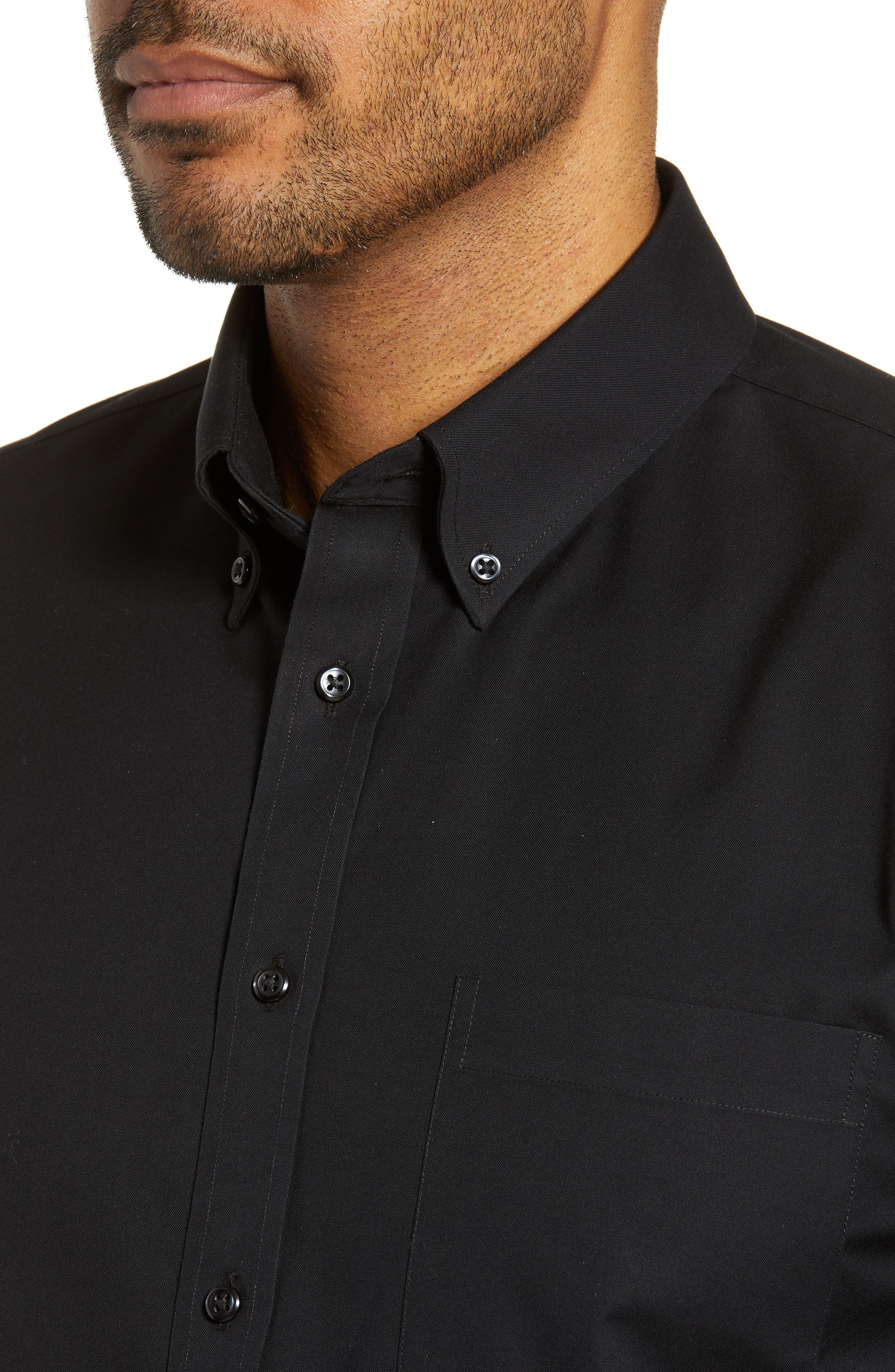 NORDSTROM MEN'S SHOP, Smartcare<sup>™</sup> Traditional Fit Pinpoint Dress Shirt, Alternate thumbnail 2, color, BLACK ROCK
