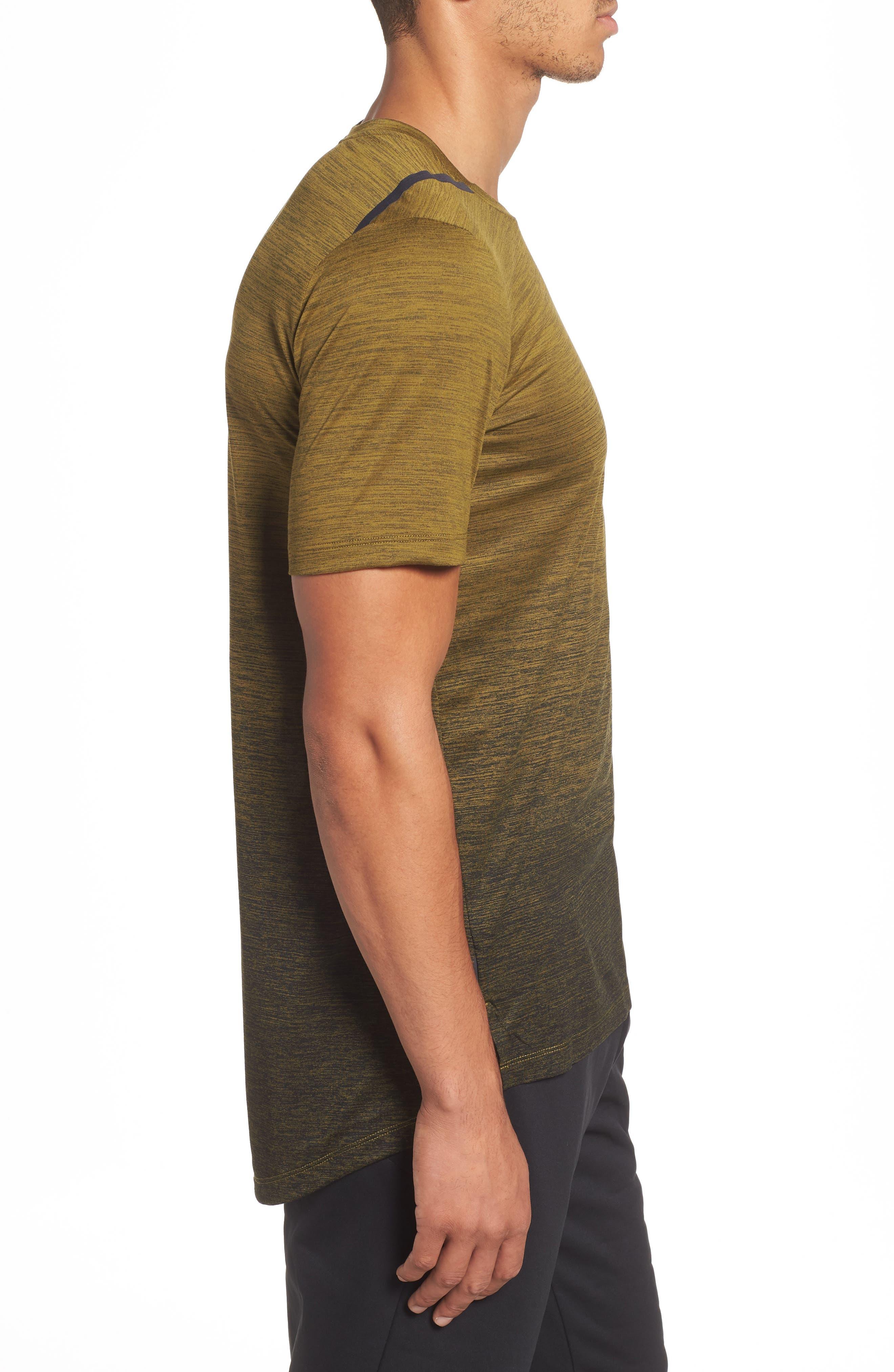 NIKE, Dry Max Training T-Shirt, Alternate thumbnail 3, color, OLIVE FLAK/ BLACK/ COBALT